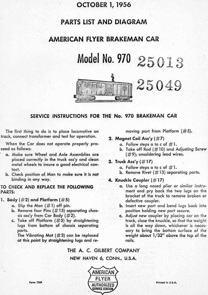 American Flyer Brakeman Car 970 Parts List & Diagram - Page 1