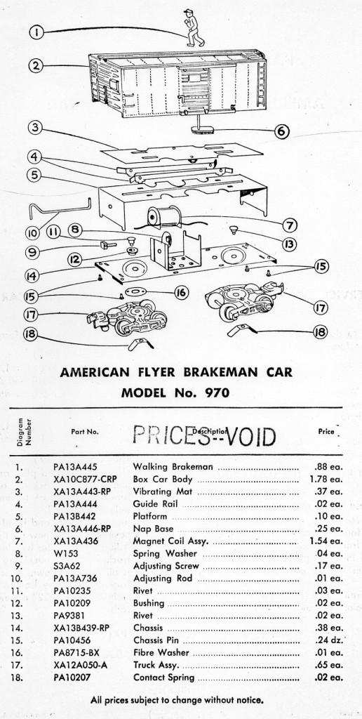 American Flyer Brakeman Car 970 Parts List  U0026 Diagram