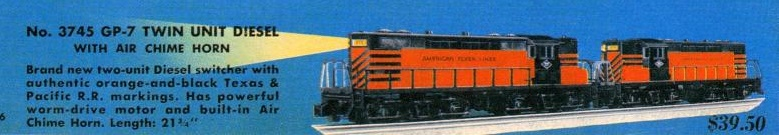 American Flyer Locomotive 3745 GP-7 Twin Unit Diesel Catalog Image