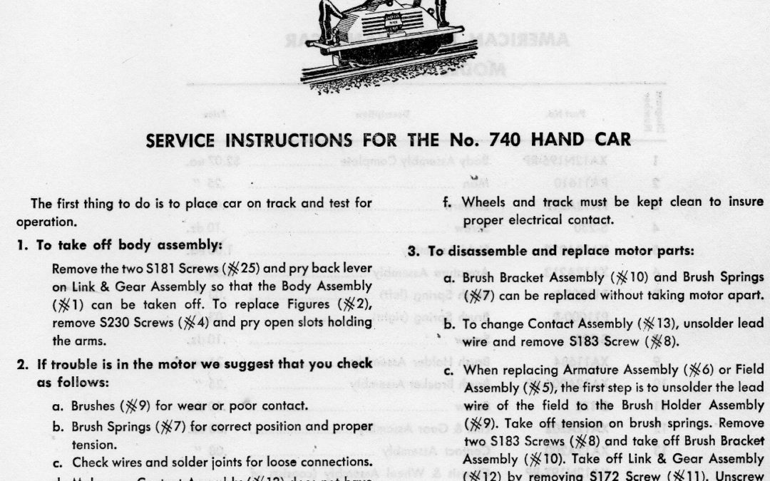 American Flyer Hand Car 740 Parts List & Diagram