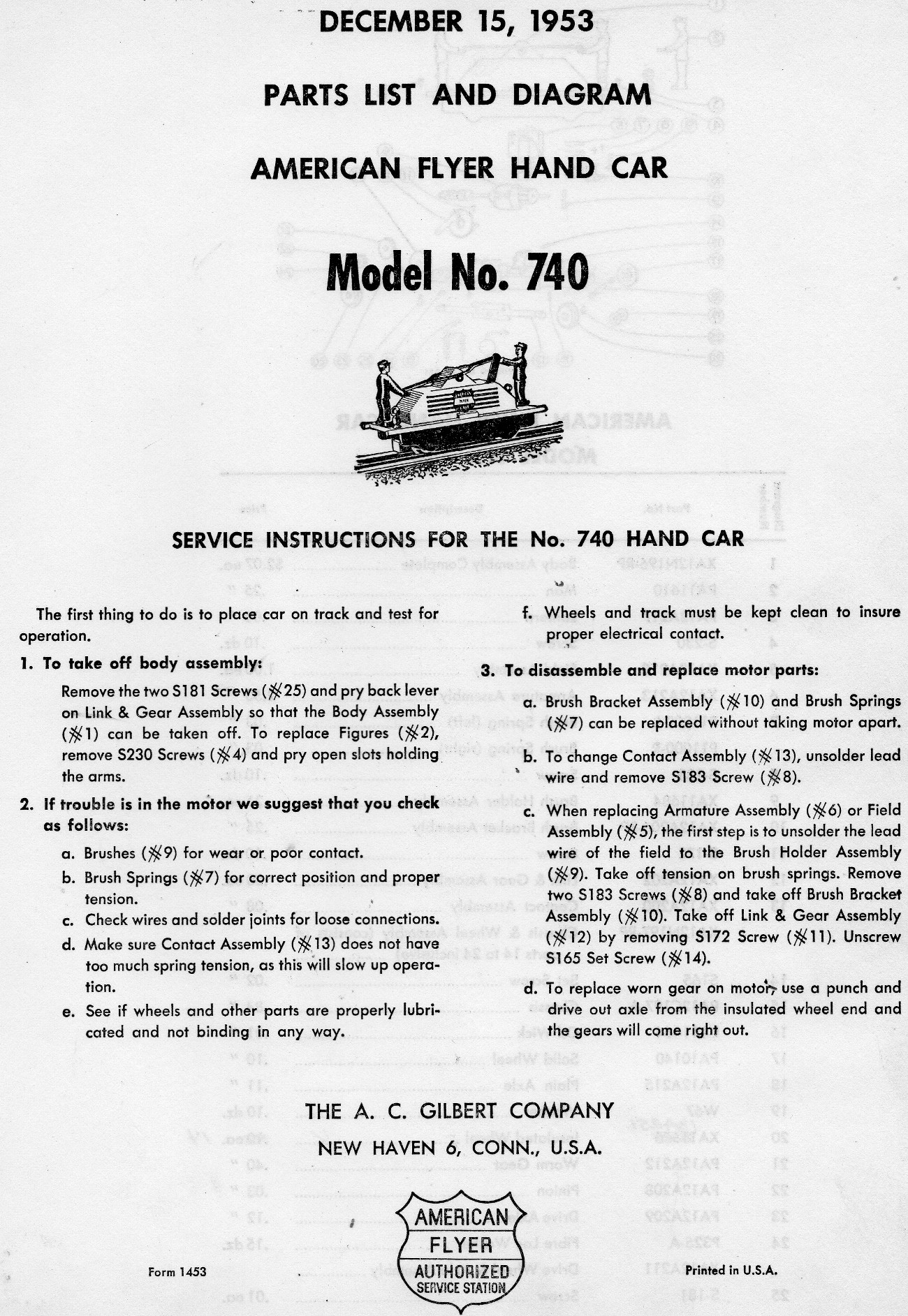 American Flyer Hand Car 740 Parts List & Diagram - Page 1