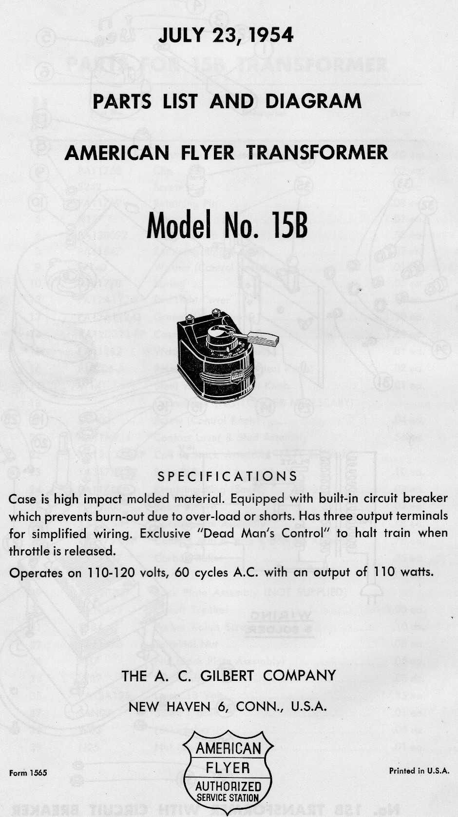 American Flyer Transformer No. 15B Parts List & Diagram - Page 1