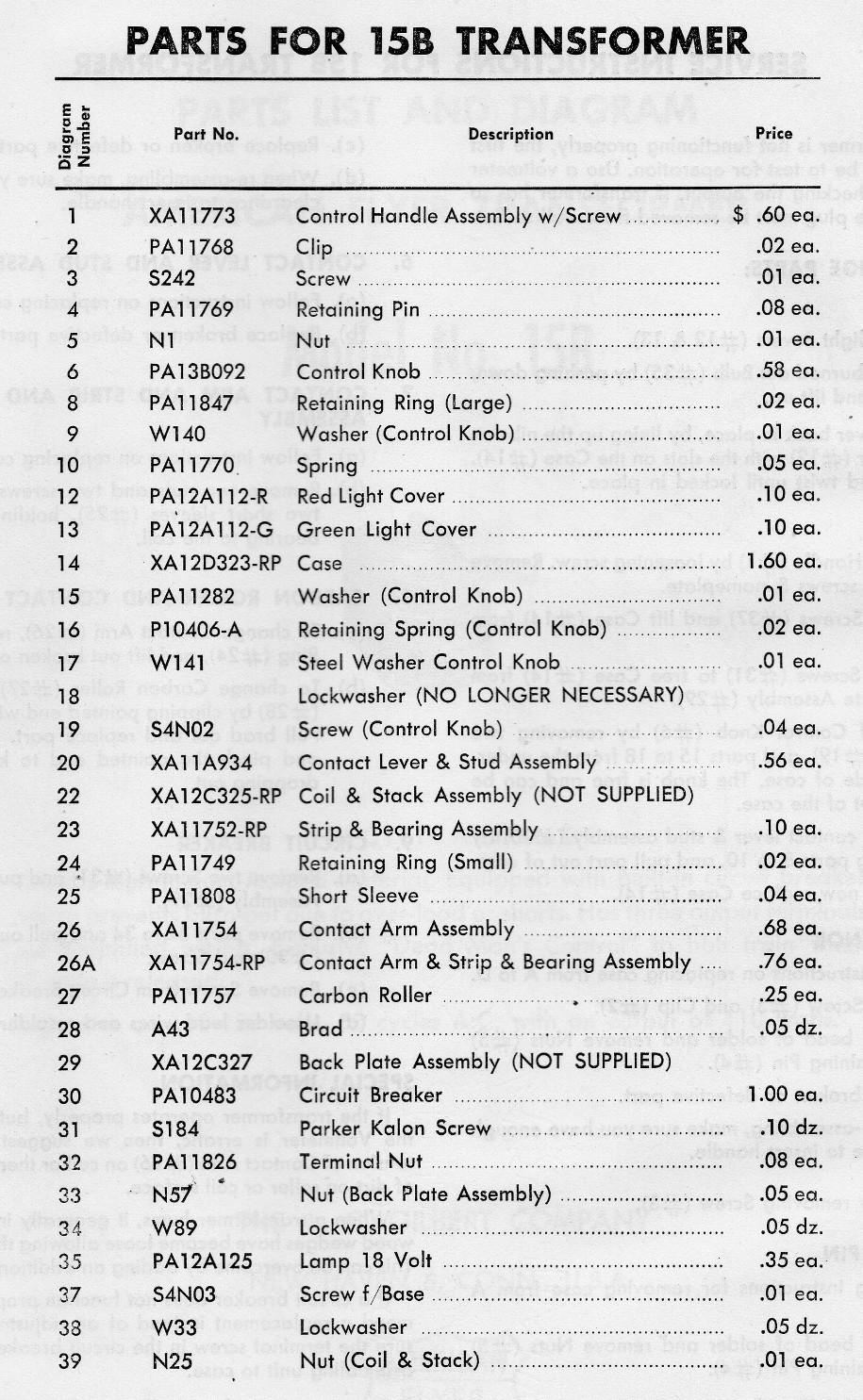 American Flyer Transformer No. 15B Parts List & Diagram - Page 3