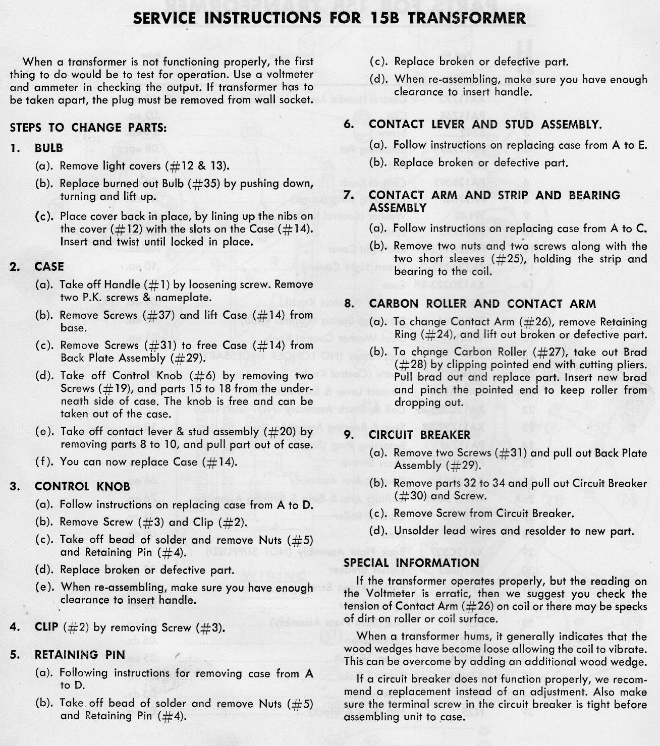 Service Instructions for No. 15B Transformer