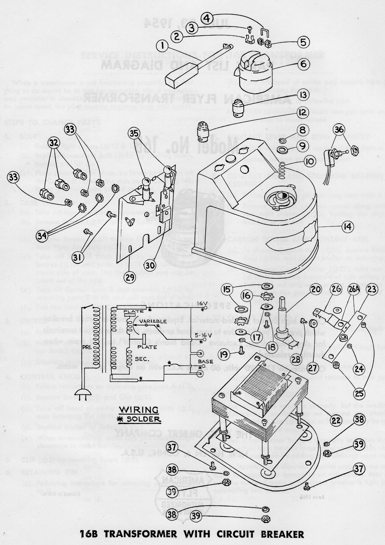 american flyer transformer 16b parts list  u0026 diagram