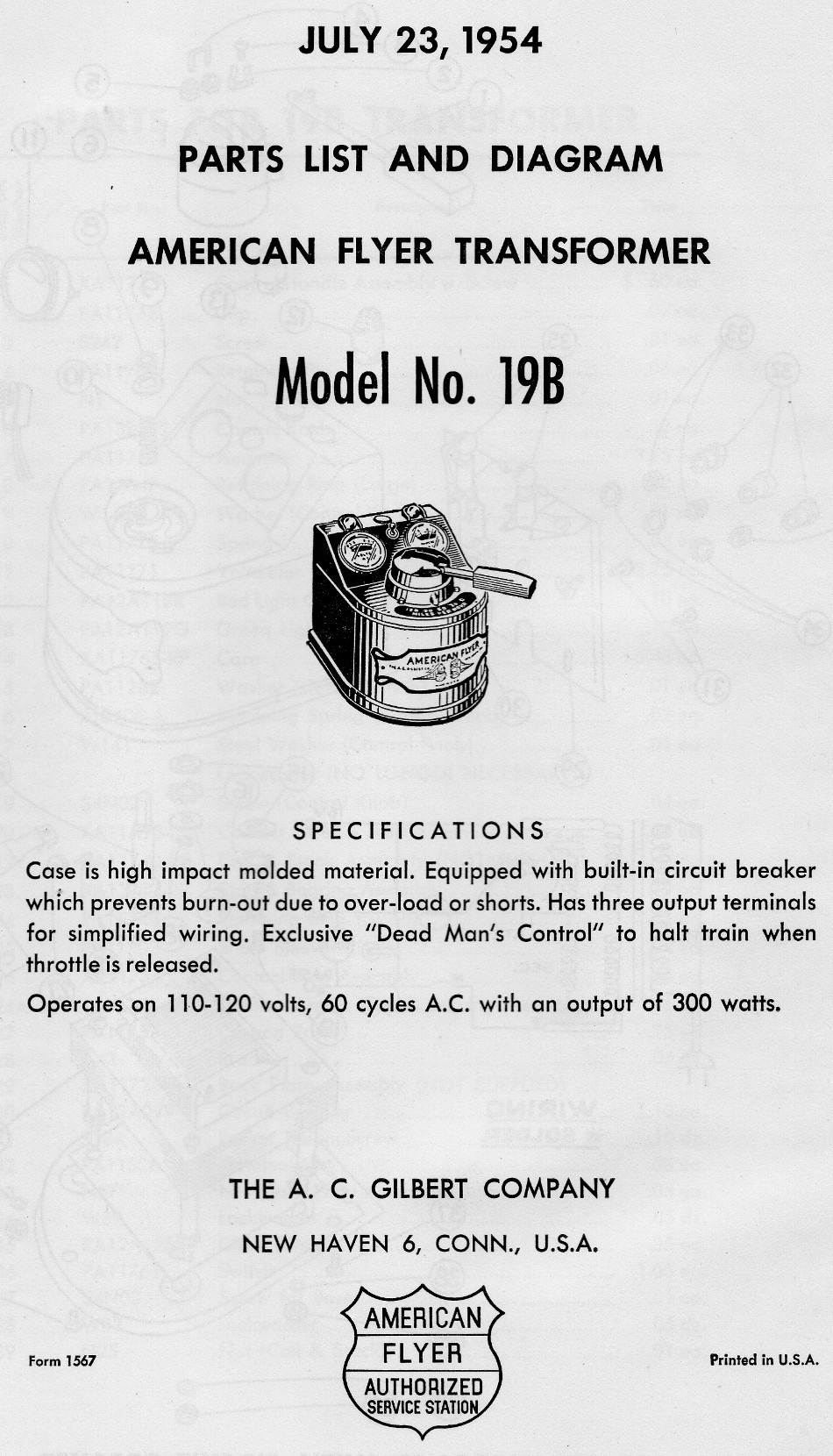 American Flyer Transformer 19B Parts List and Diagram - Page 1