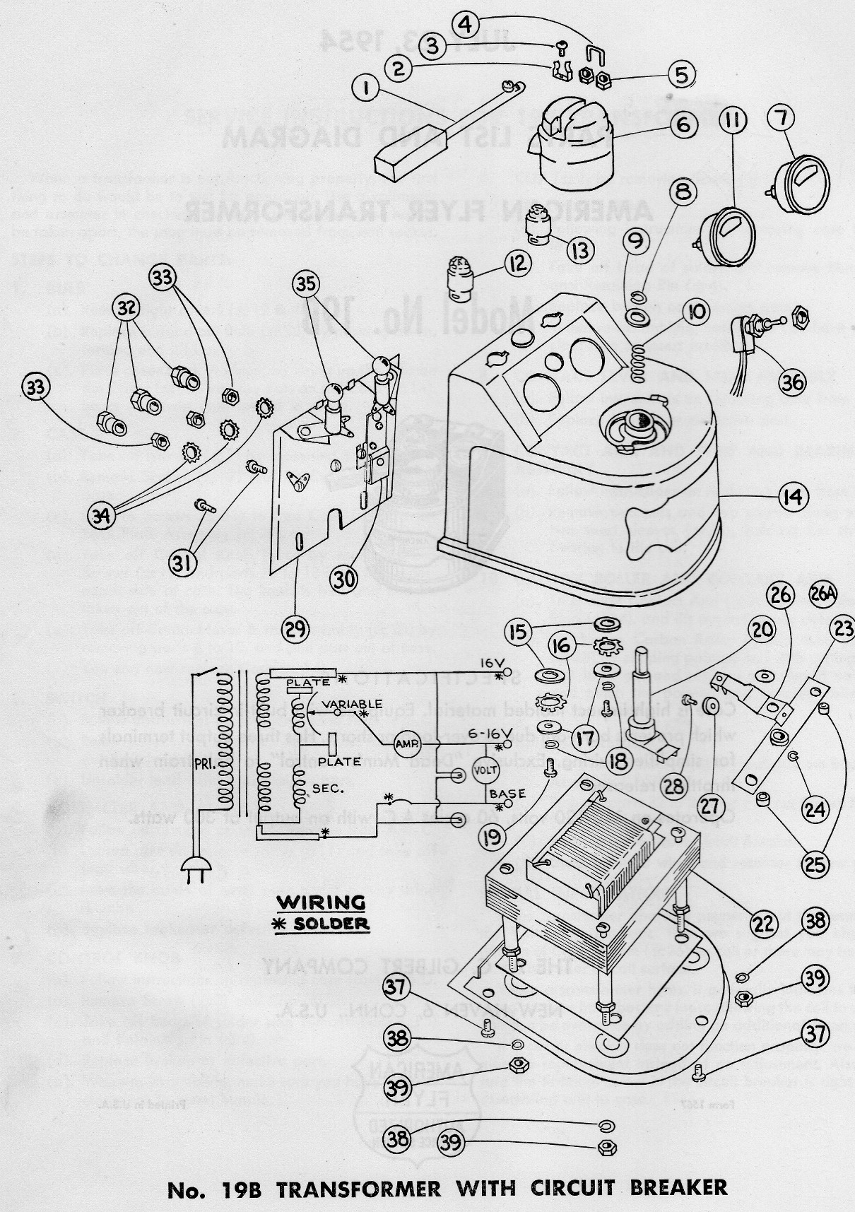 American Flyer Transformer 19b Parts List Diagram Traindr Circuit With And Page 2