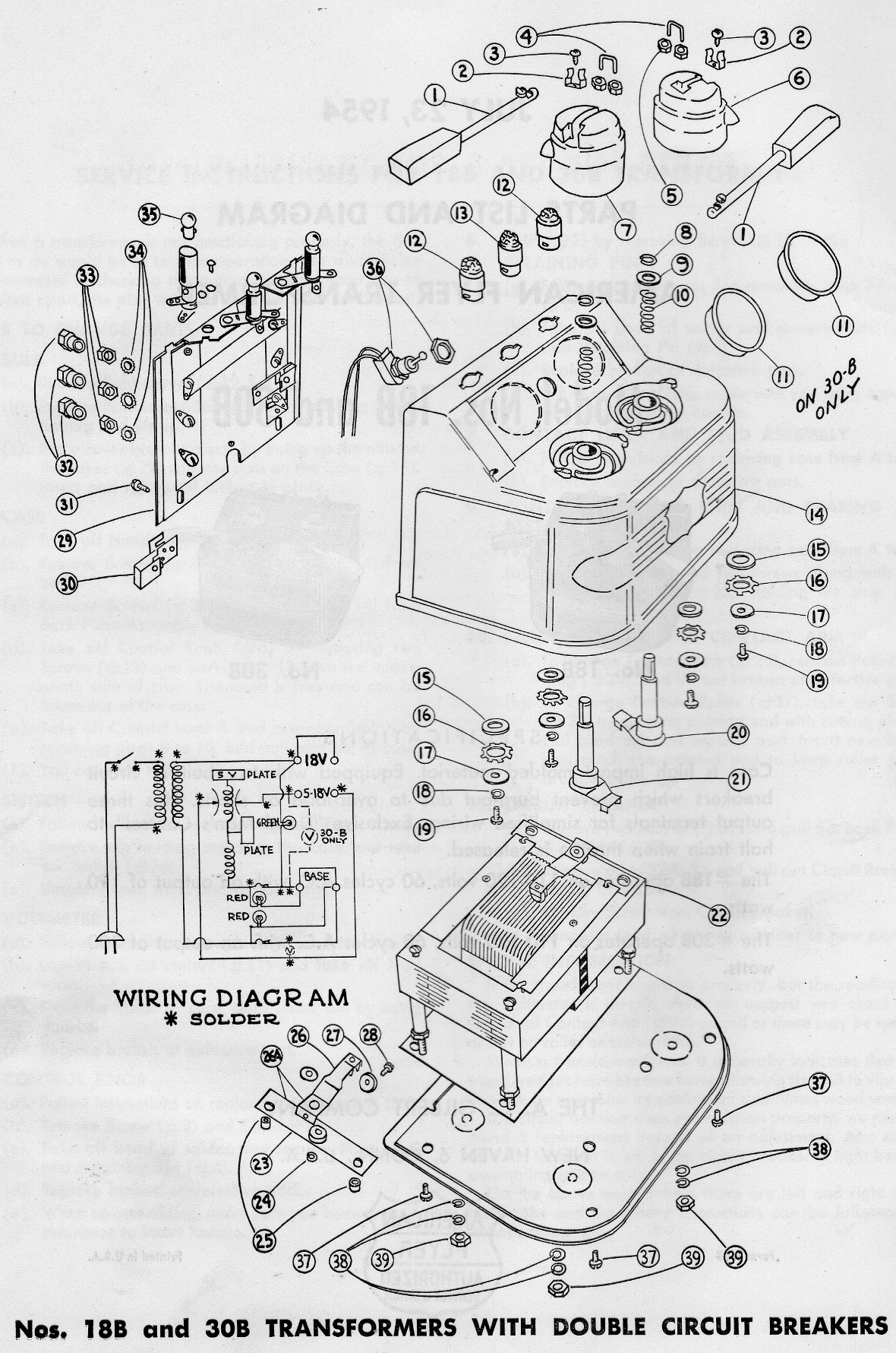 american flyer transformer 18b  u0026 30b parts list and diagram