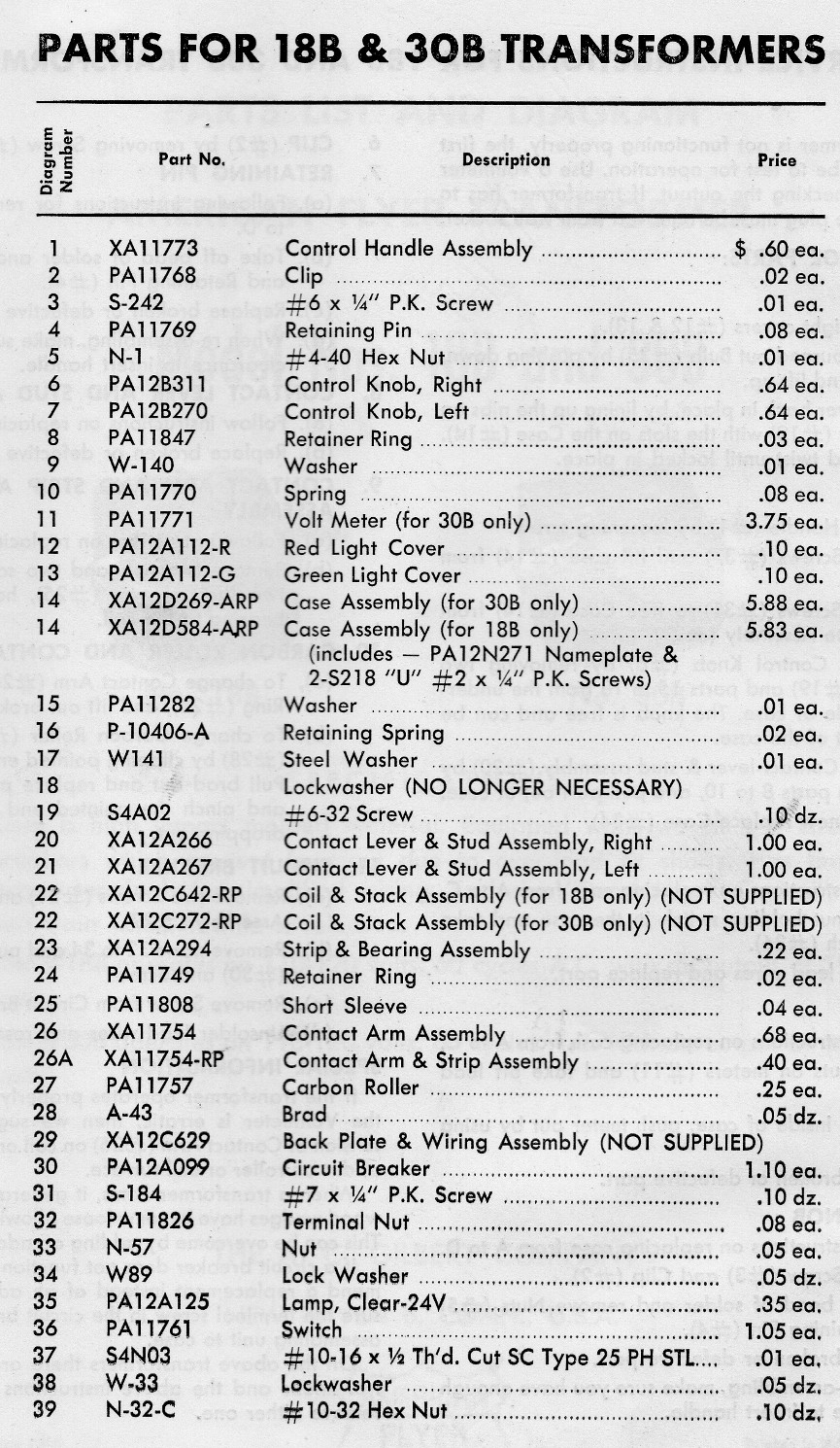 American Flyer Transformer No. 18B & 30B Parts List and Diagram - Page 3