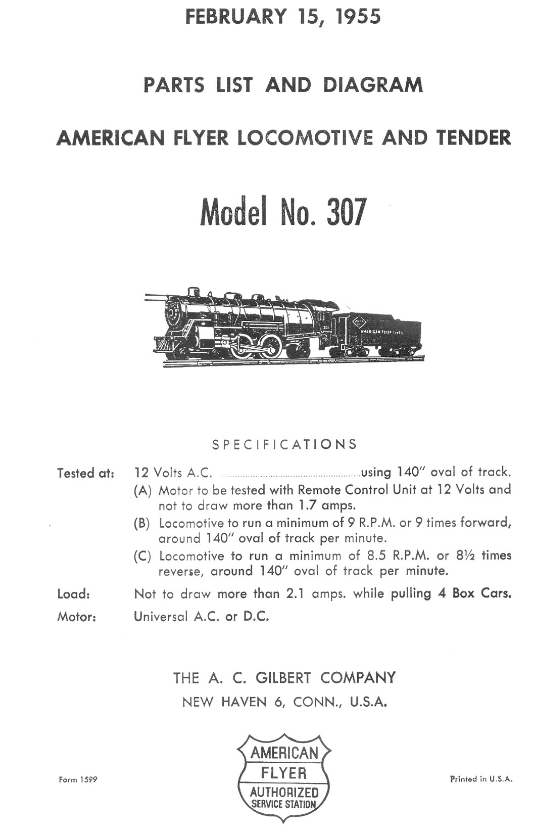 American Flyer Locomotive & Tender 307 Parts List and Diagram - Page 1