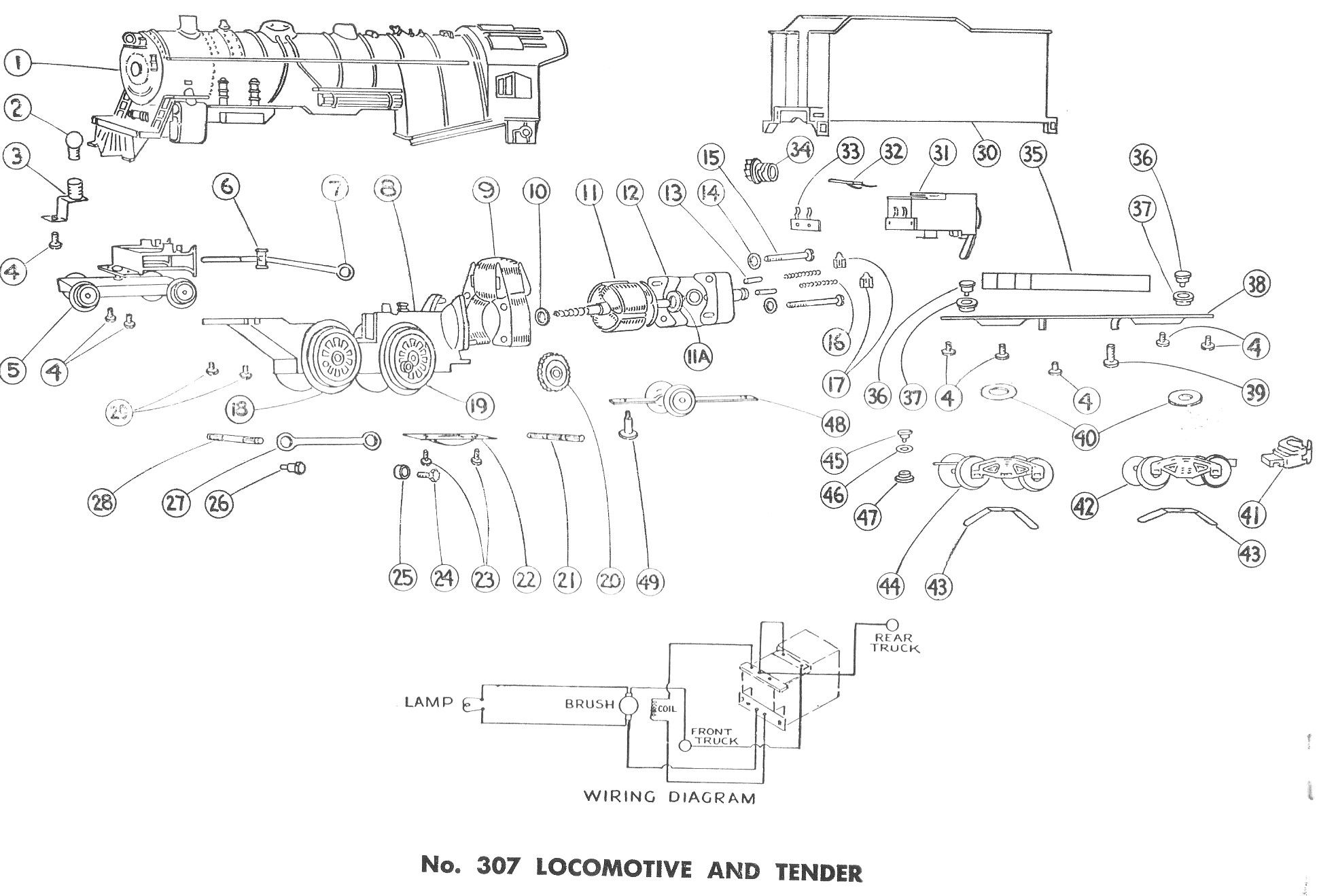american flyer locomotive 299 307 parts list and diagram traindr