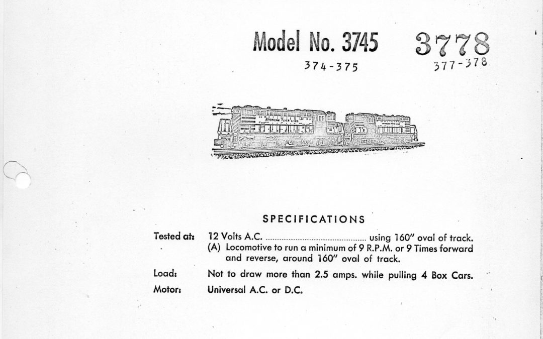 American Flyer Locomotive 3745 & 3778 Parts List & Diagram