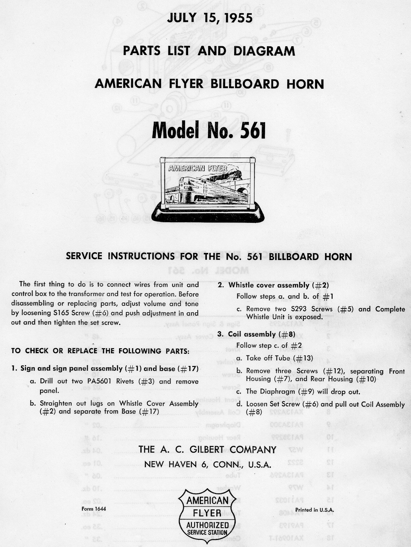American Flyer Billboard Horn No. 561 Parts List and Diagram - Page 1
