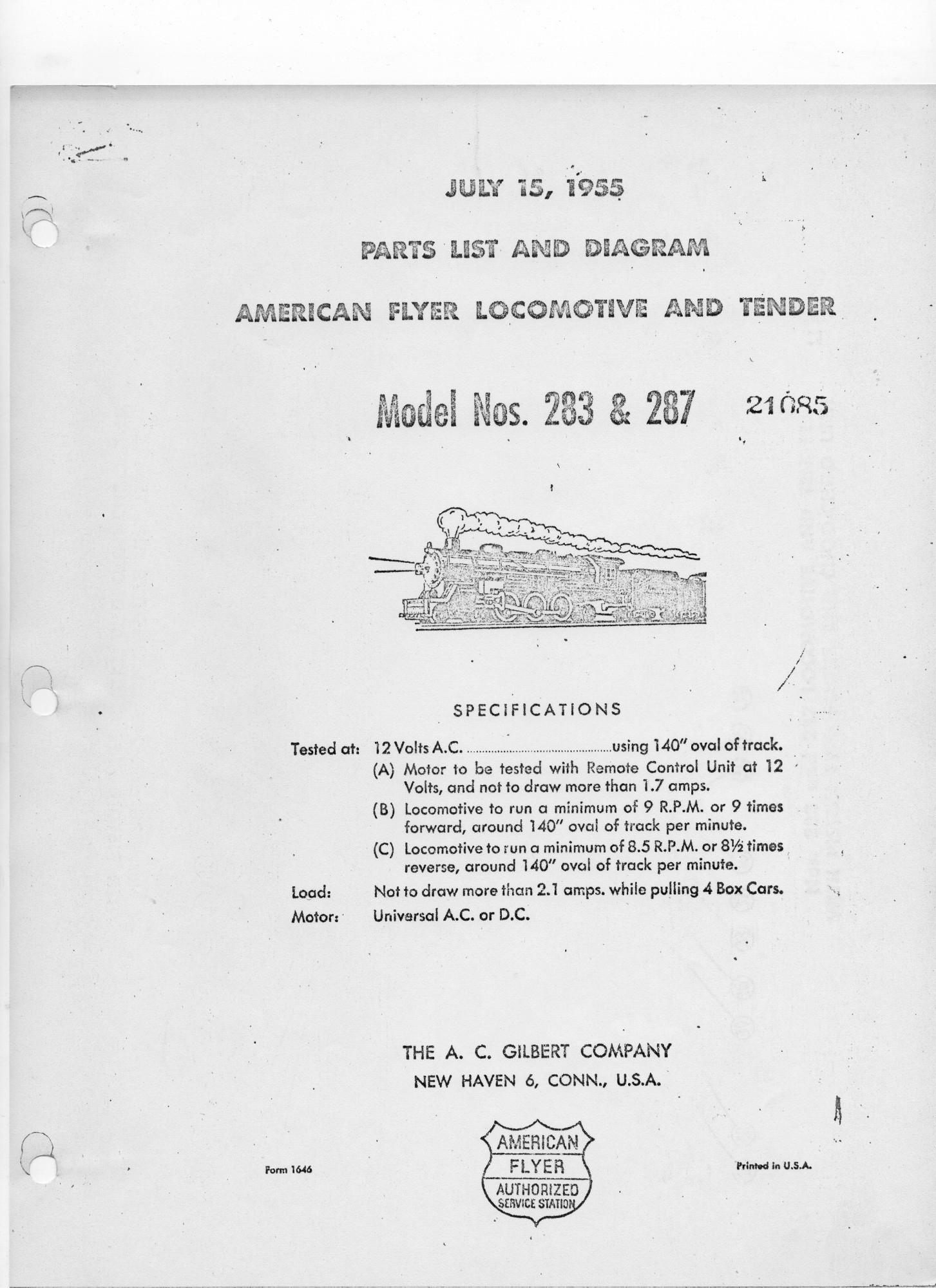 American Flyer Locomotive 283 & 287 Parts List and Diagram - Page 1ge 3