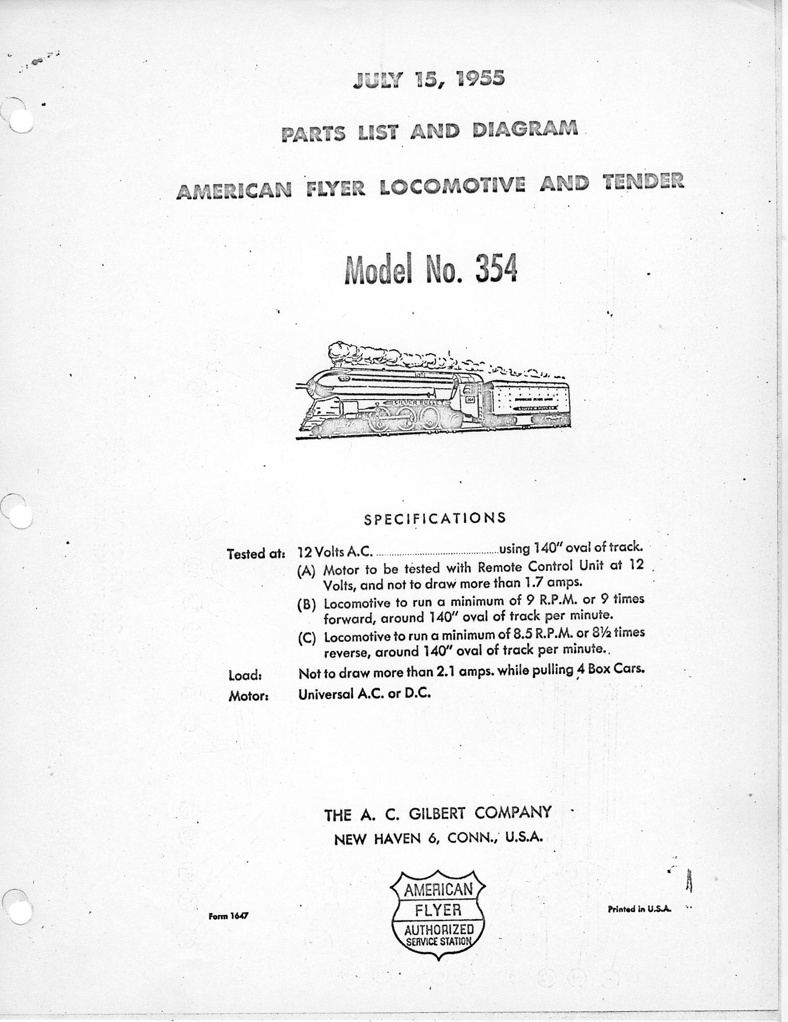 American Flyer Locomotive & Tender 354 Parts List & Diagram - Page 1