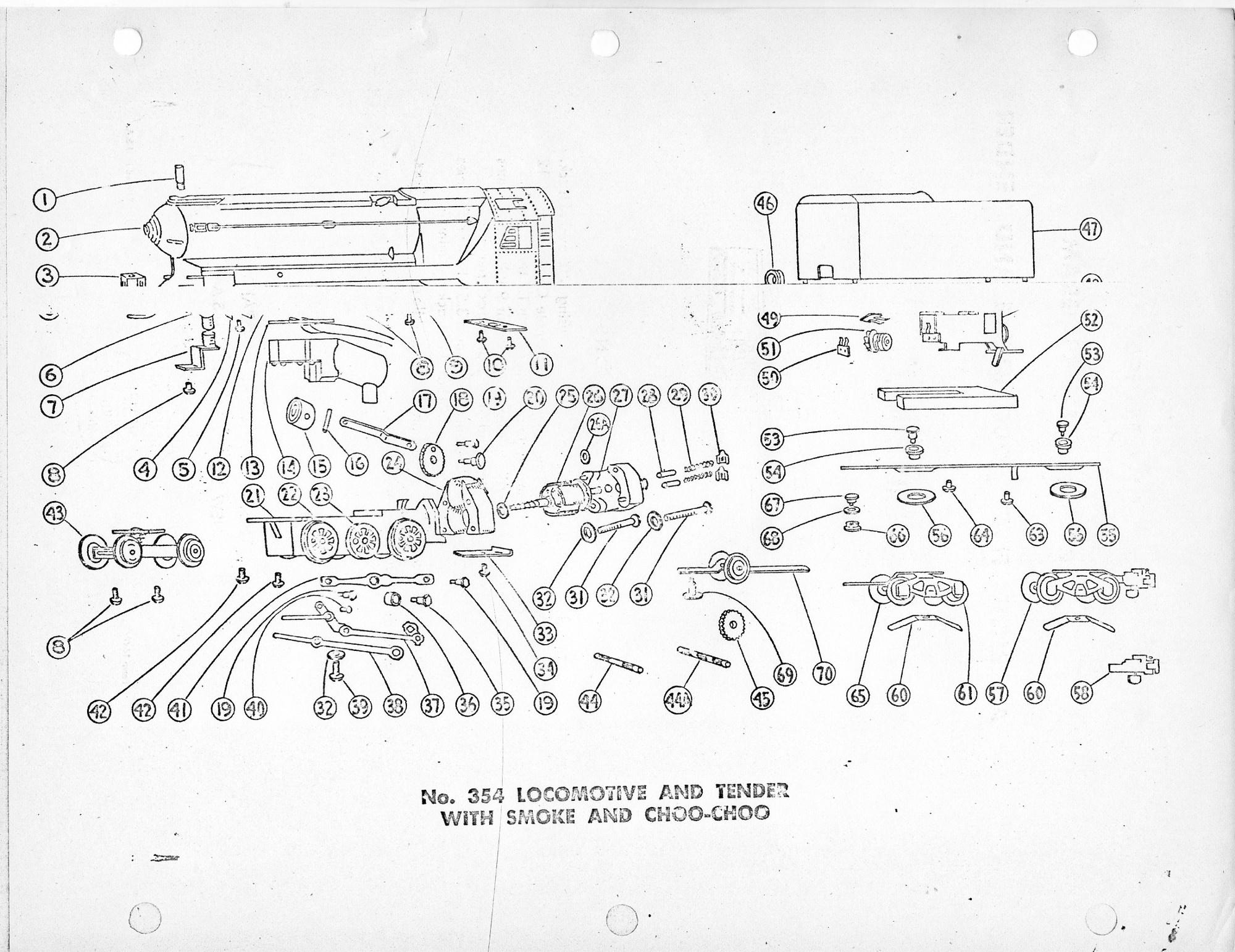 American Flyer Locomotive & Tender 354 Parts List & Diagram - Page 2