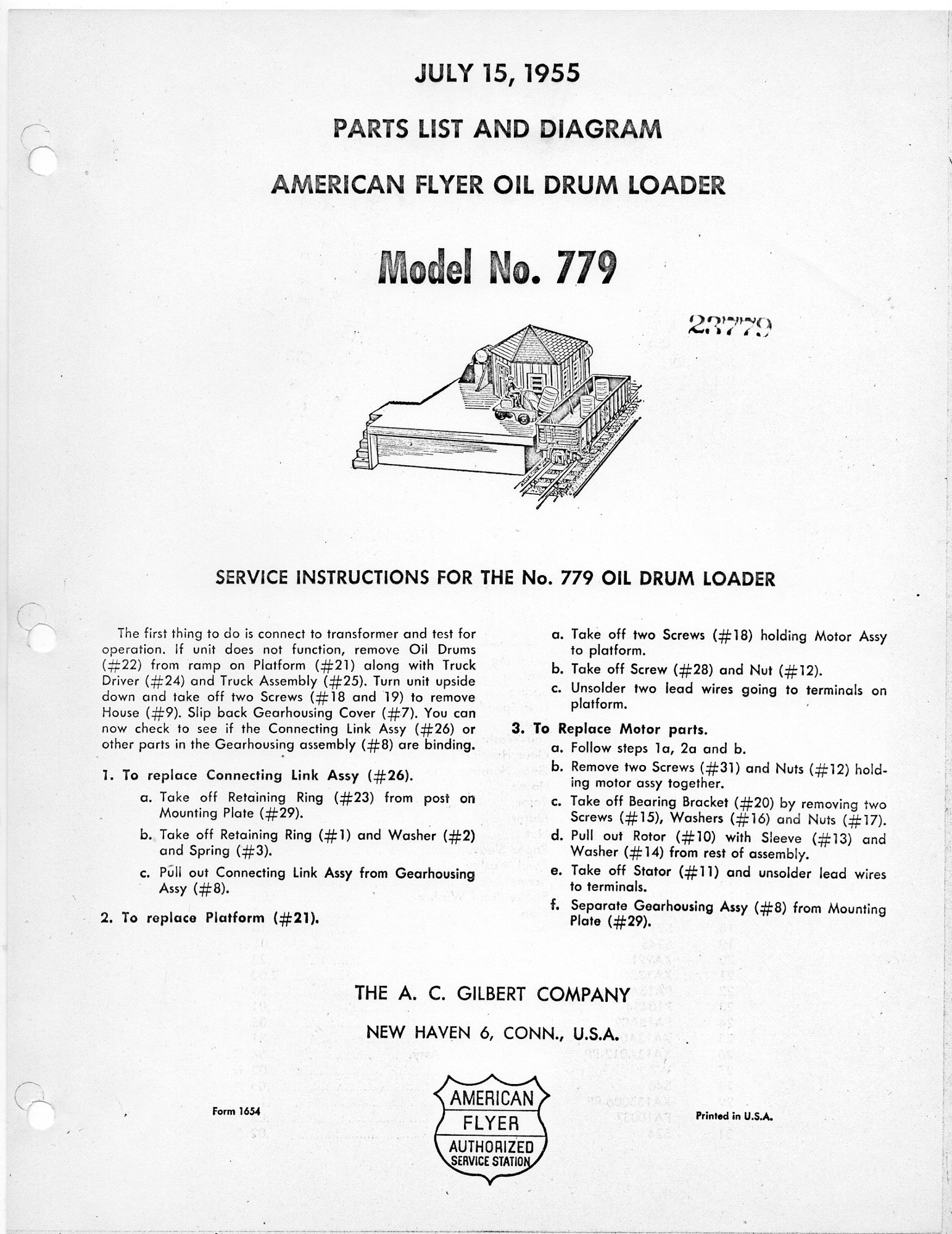 American Flyer Oil Drum Loader 779 Parts List and Diagram - Page 1
