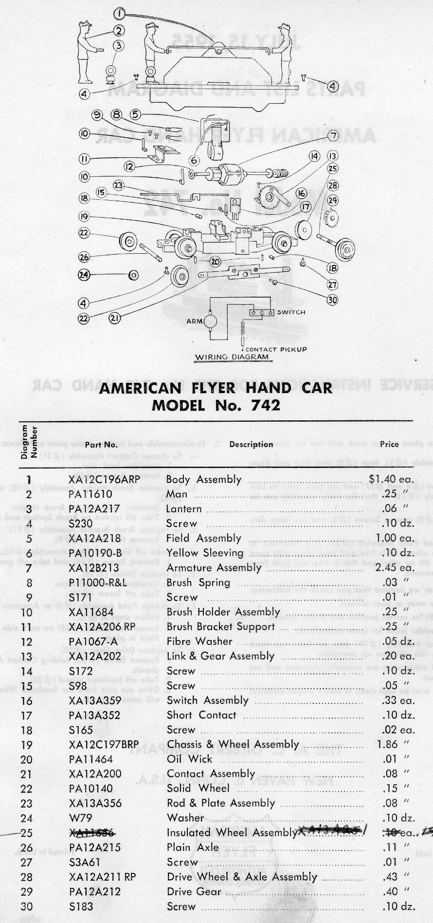 American Flyer Hand Car 740 Parts List & Diagram - Page 2