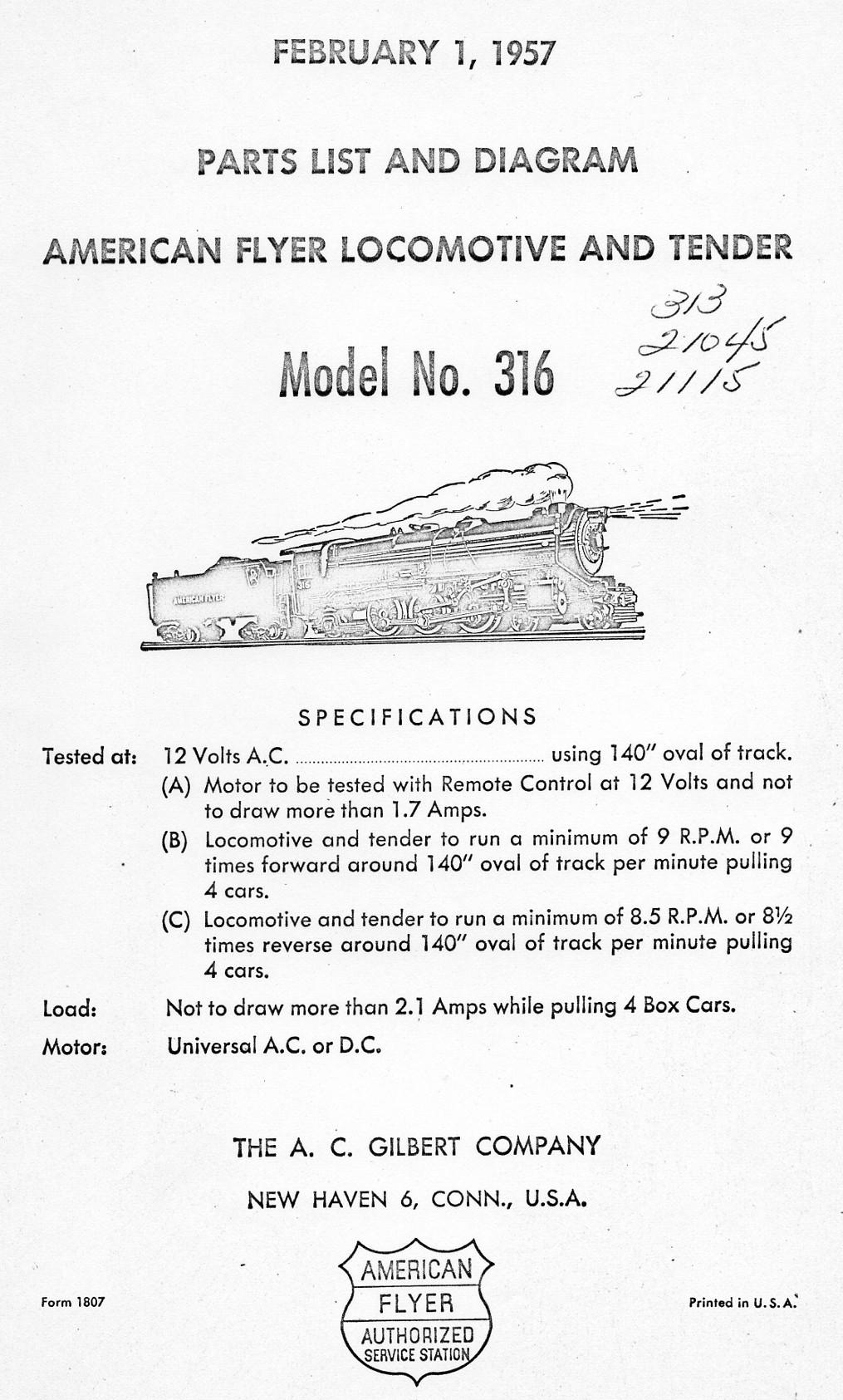 American Flyer Locomotive & Tender 316 Parts List & Diagram - Page 1