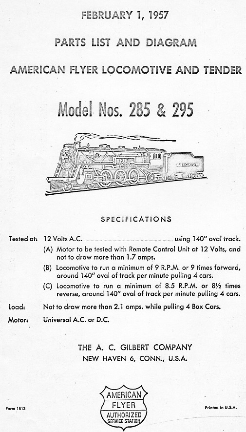 American Flyer Locomotive 285 & 295 Parts List and Diagram - Page 1