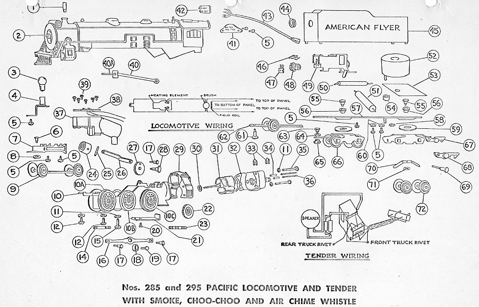 american flyer locomotive 285  u0026 295 pacific parts list