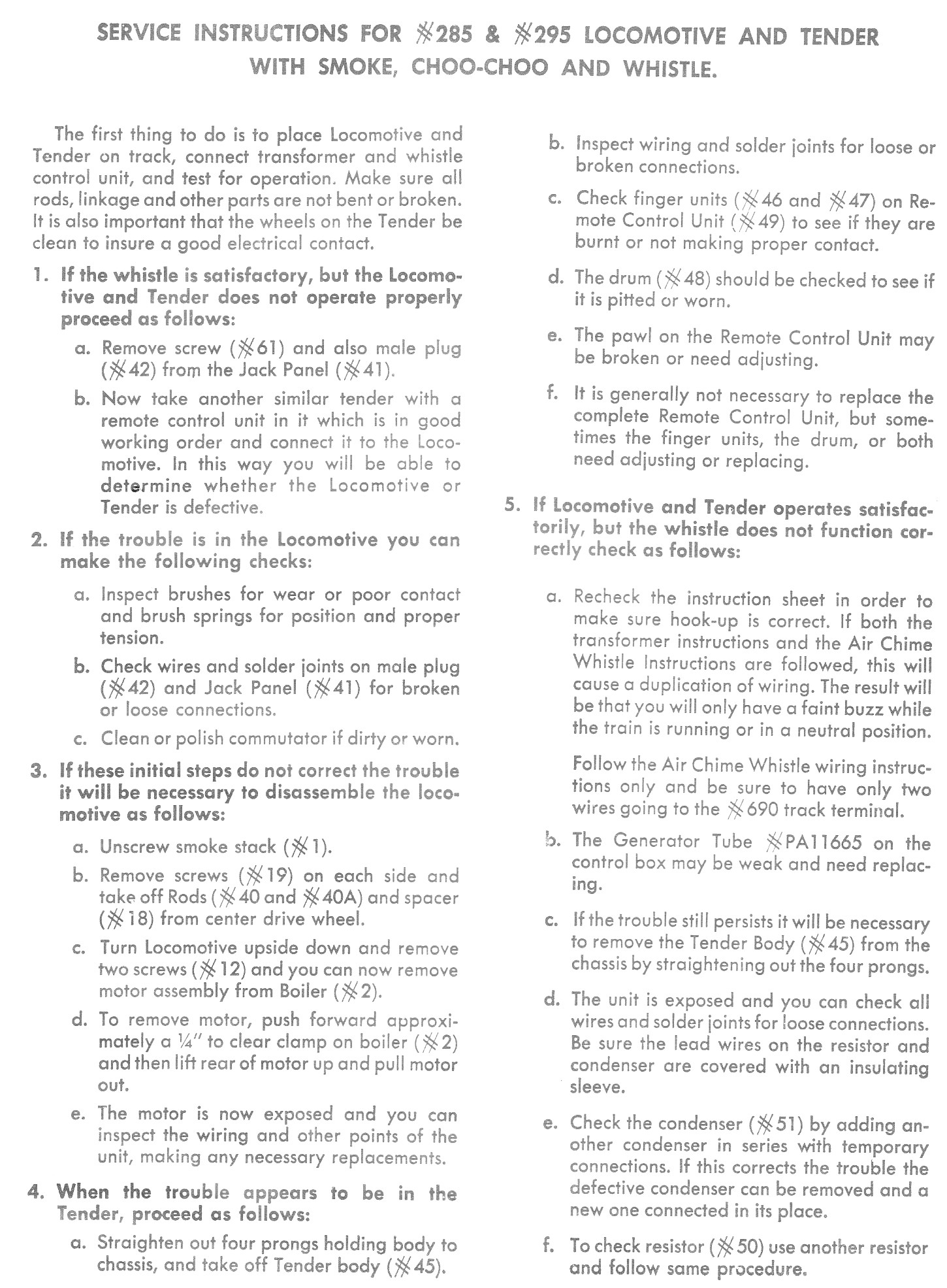 Service Instructions for No. 285 & 295 Locomotive and Tender with Smoke, Choo-Choo and Whistle
