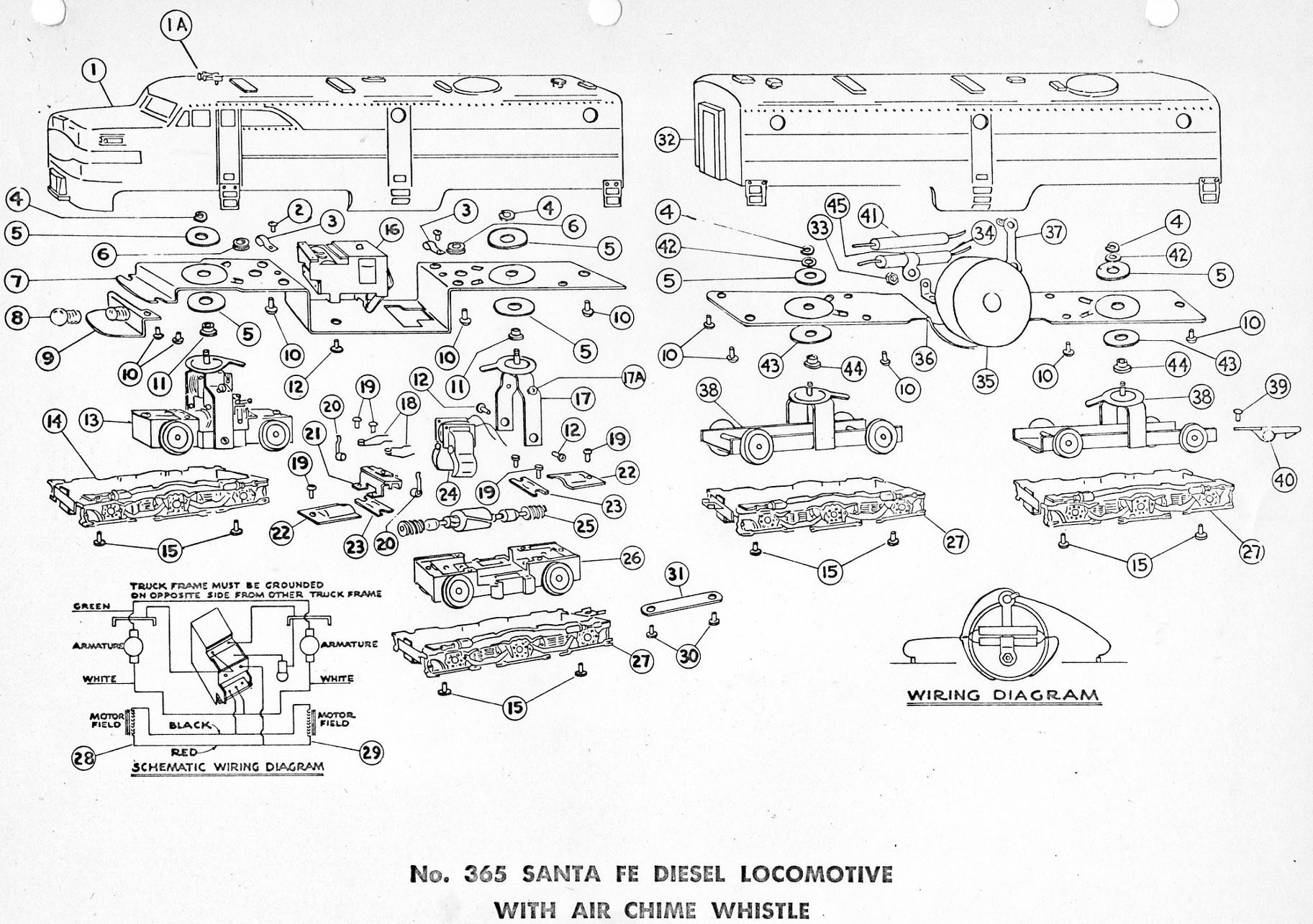 american flyer locomotive 365 parts list  u0026 diagram
