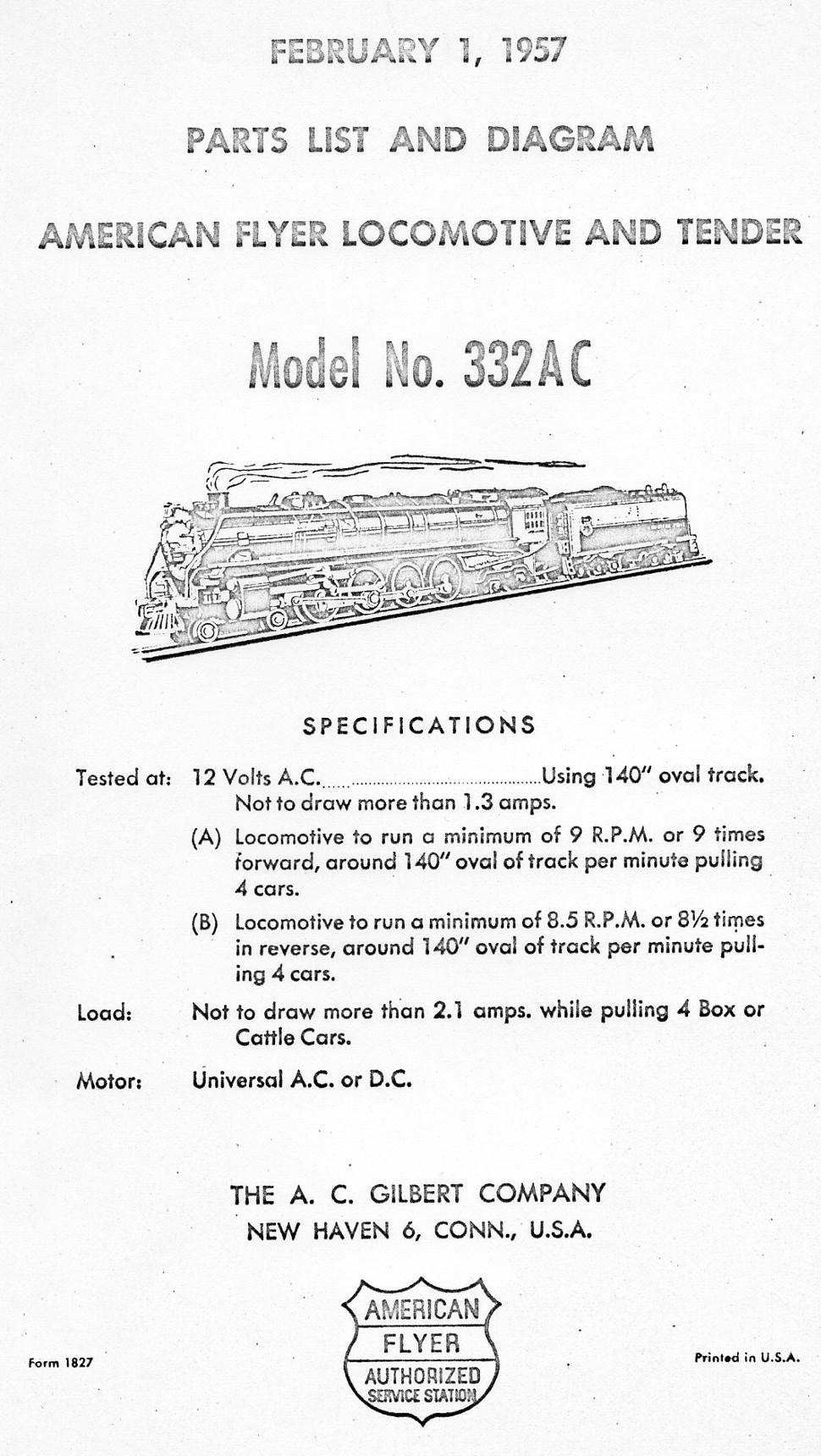 American Flyer Locomotive 332ac Parts List  U0026 Diagram
