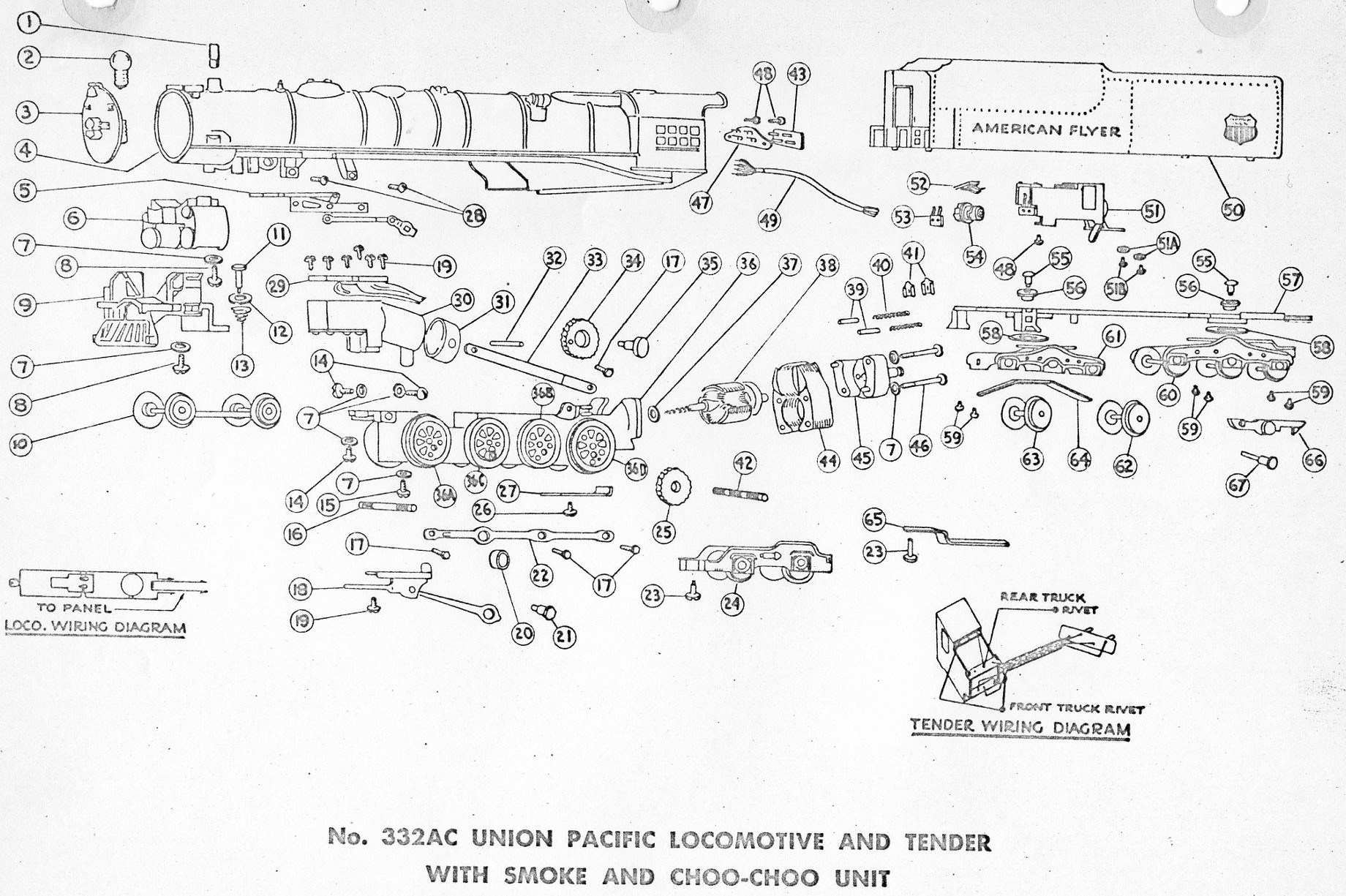 american flyer locomotive 332ac parts list  u0026 diagram