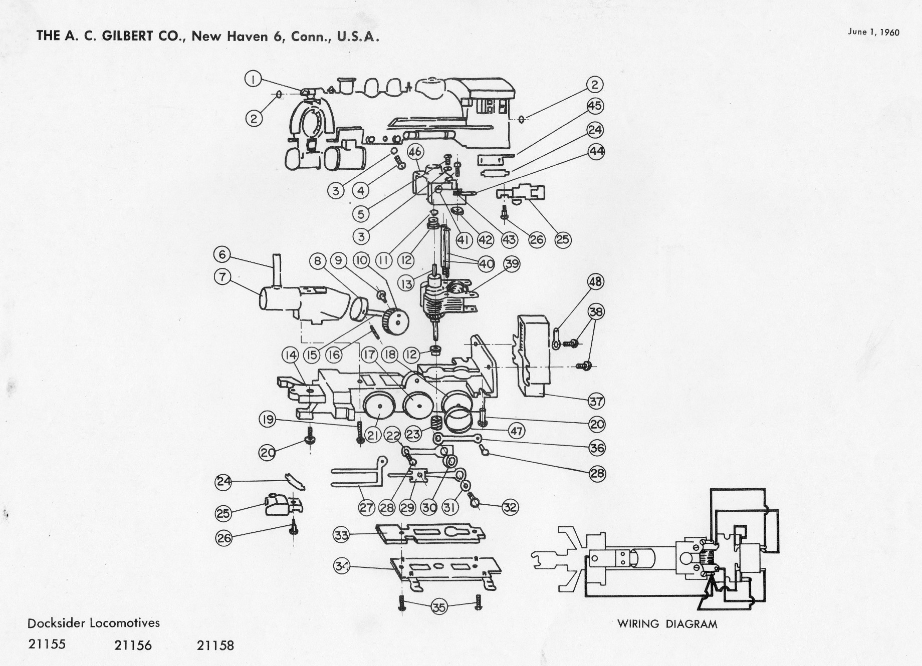 american flyer locomotive 21155 docksider switcher parts list  u0026 diagram