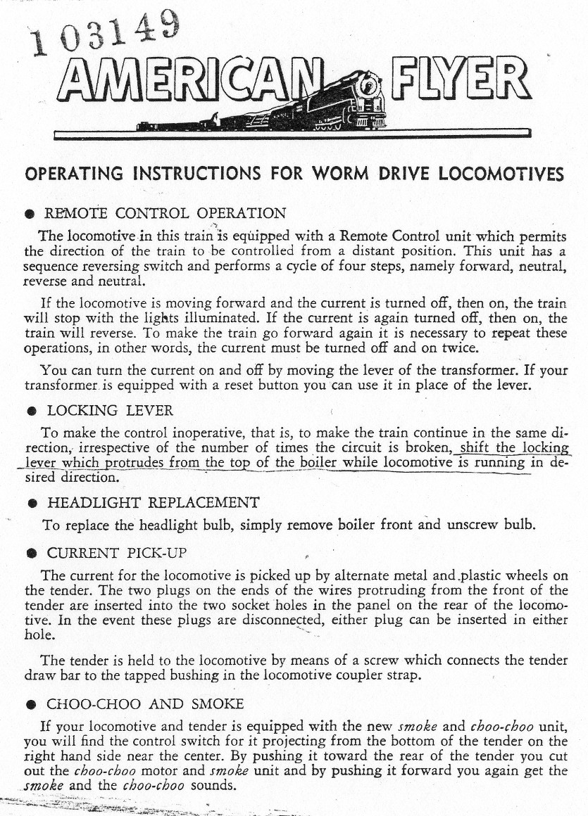 Operating Instructions For Worm Drive Locomotives- Page 1