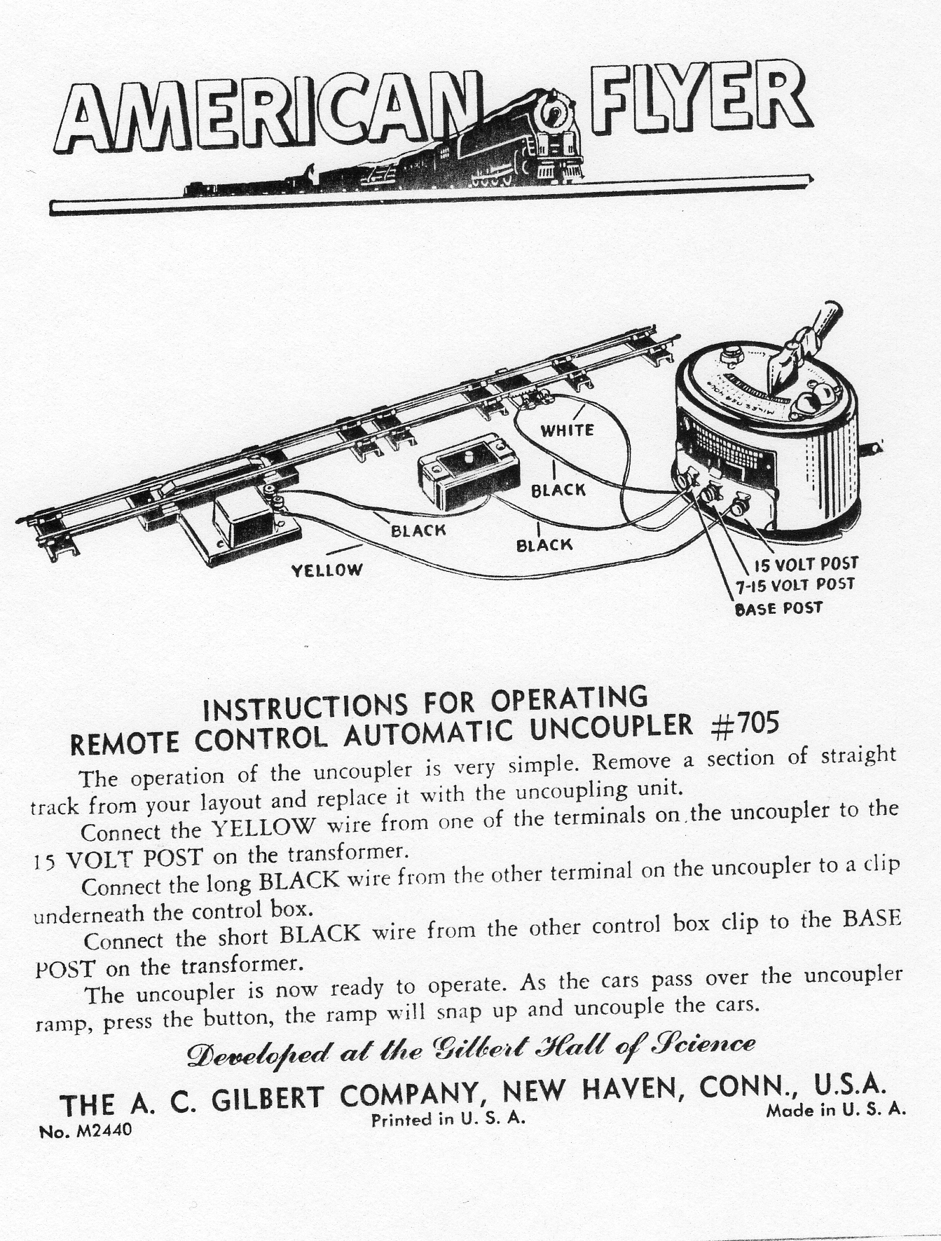 Instructions for Operating Remote Control Automatic Uncoupler No. 705