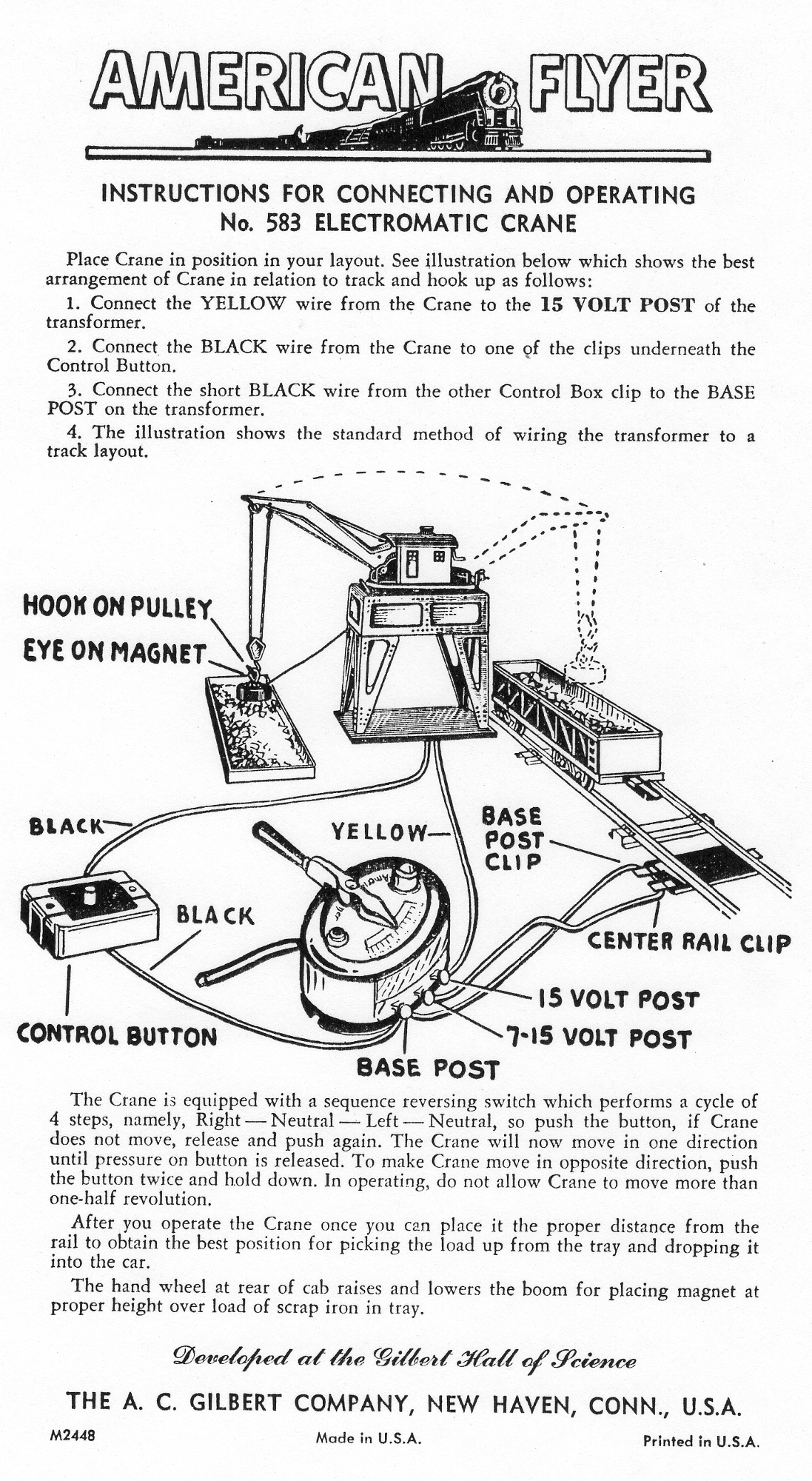 Instructions for Connecting and Operating No. 583 Electromatic Crane