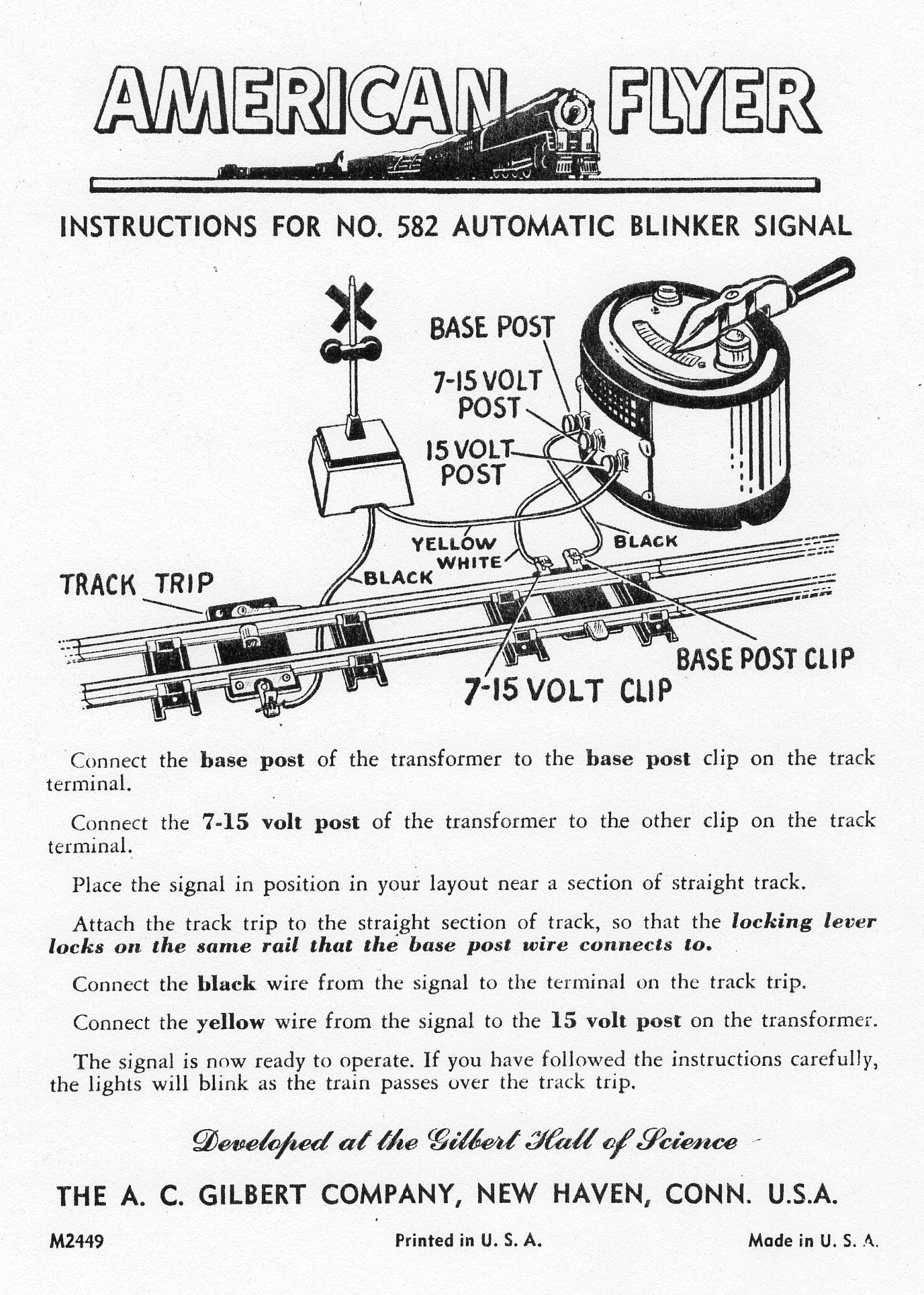 Instructions for No. 582 Automatic Blinker Signal