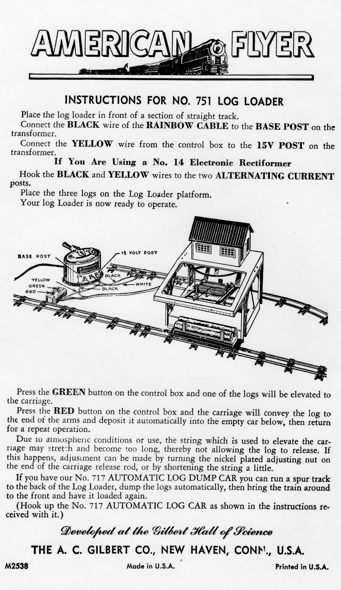 American Flyer Log Loader No. 751 Instructions