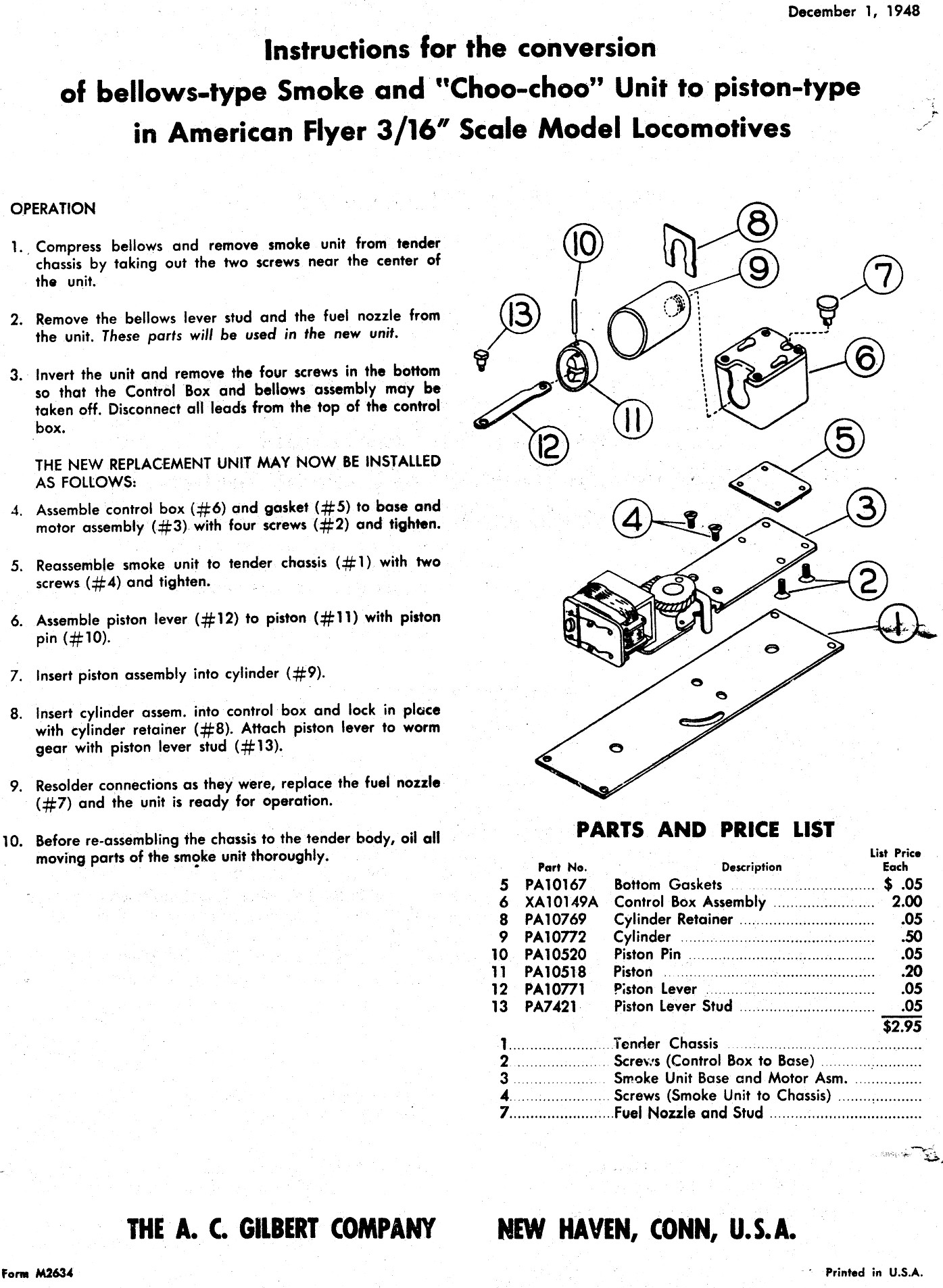 American Flyer Instructions for the Conversion of Bellow-Type Smoke &