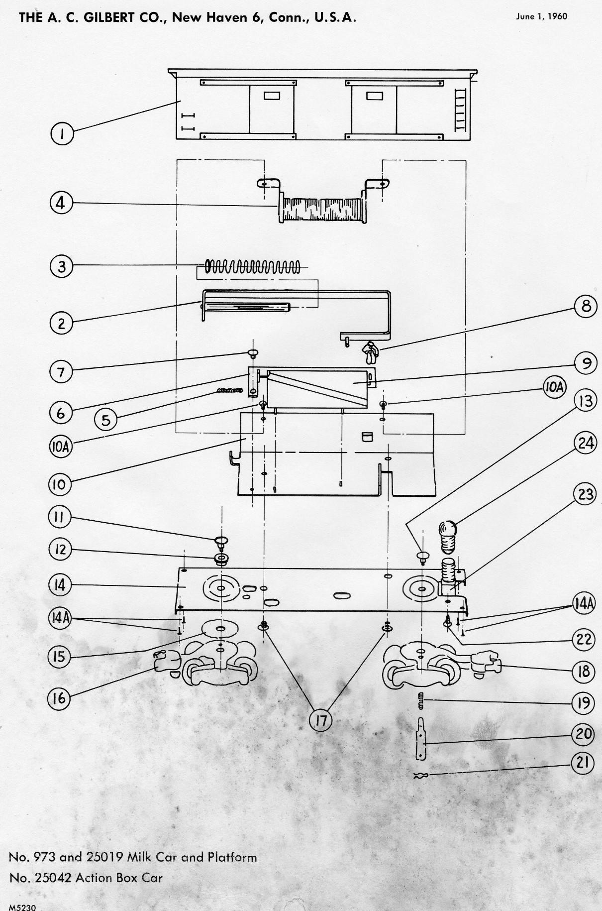 American Flyer Milk Car & Platform 973 and 25019 Diagram