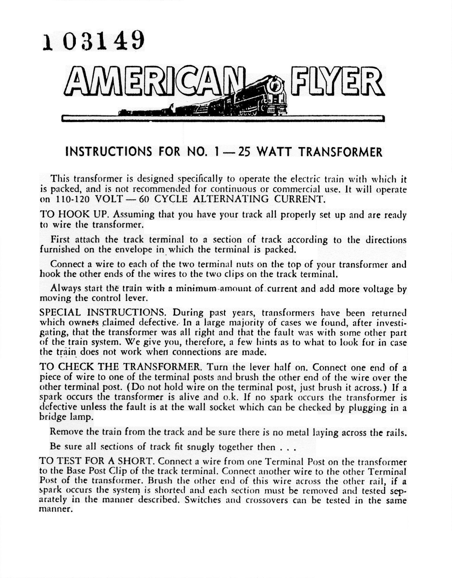 Instructions for No. 1 - 25W Transformer