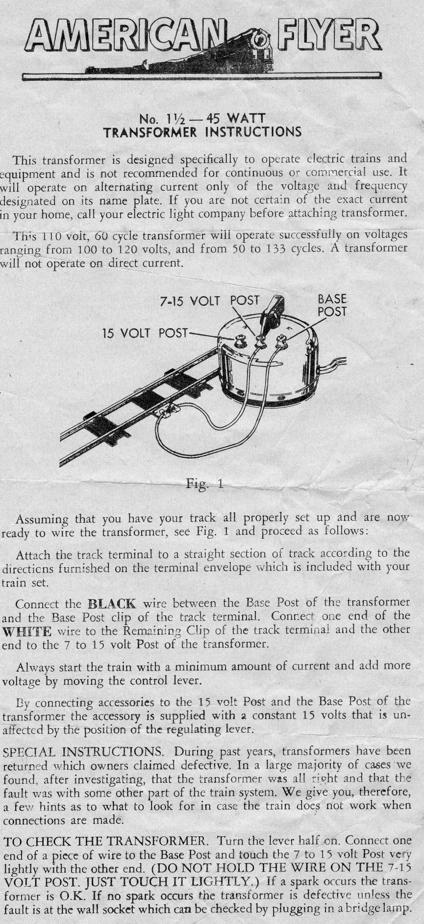 American Flyer No. 1½ - 45W Transformer Instructions - Page 1
