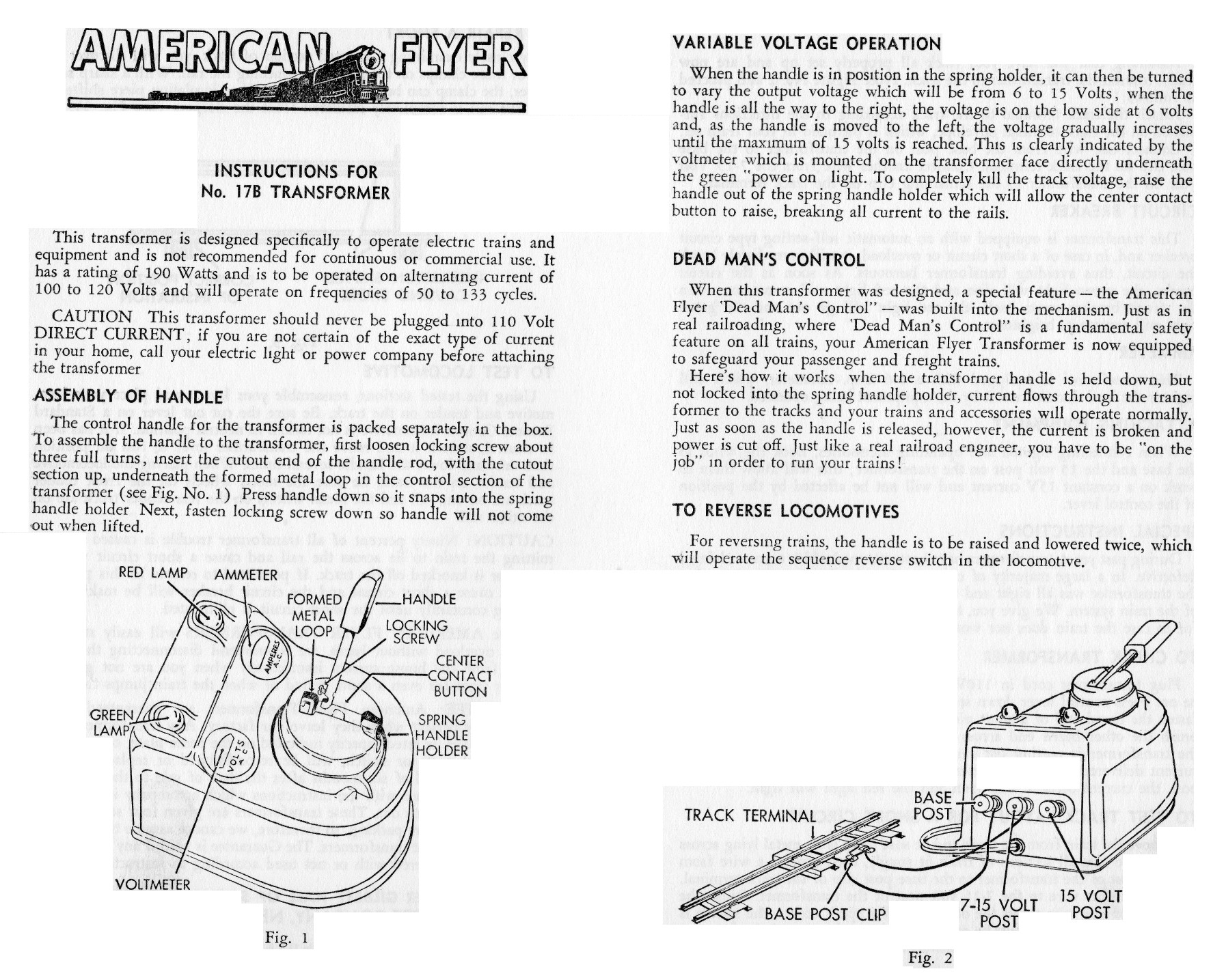 Instructions for No. 17B Transformer - Page 1