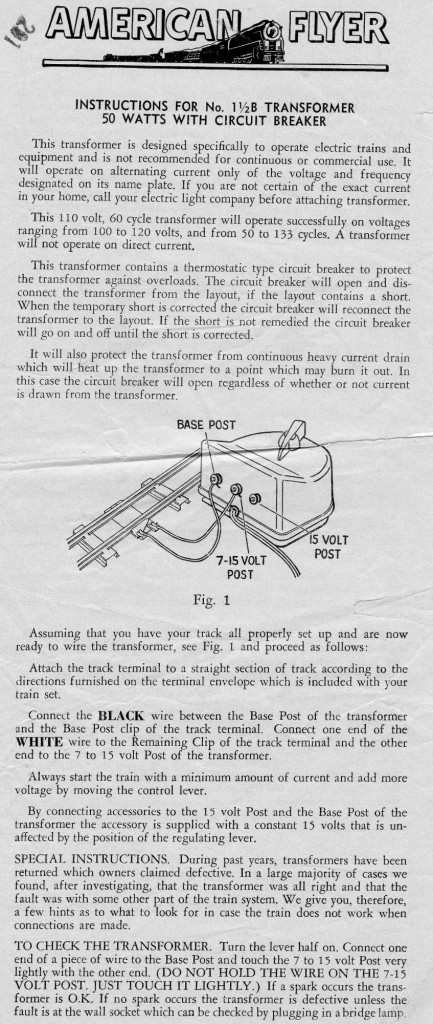 Instructions for No. 1½B Transformer - 50W With Circuit Breaker - Page 1