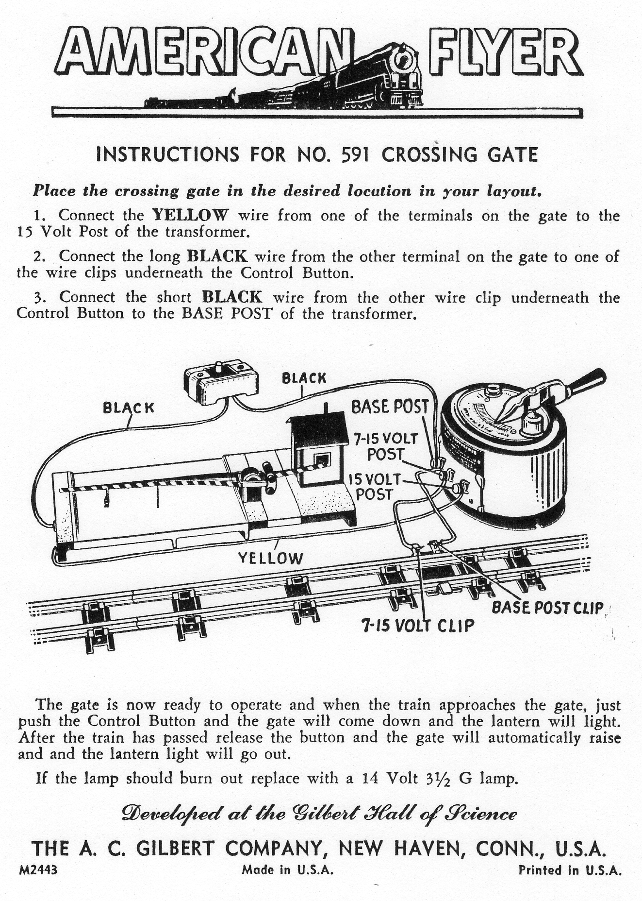 instructions for no  591 crossing gate