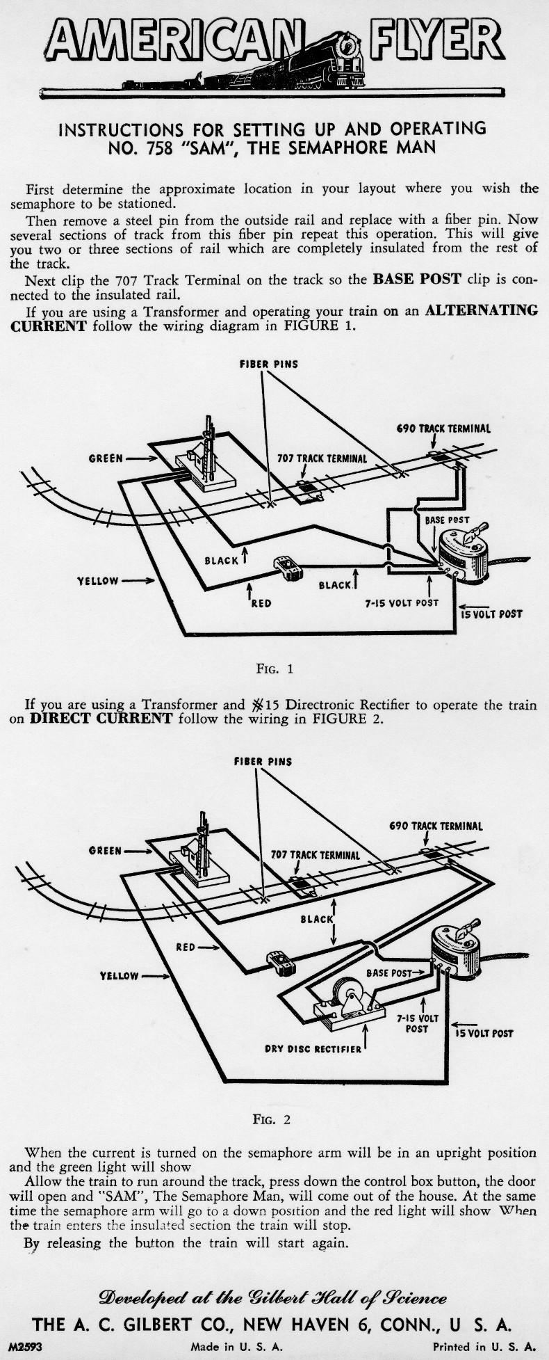 758 American Flyer Parts Diagram Block And Schematic Diagrams 1970 Honda Ct70 List Semaphore Instructions Traindr Rh Com Diesel Wire Ho
