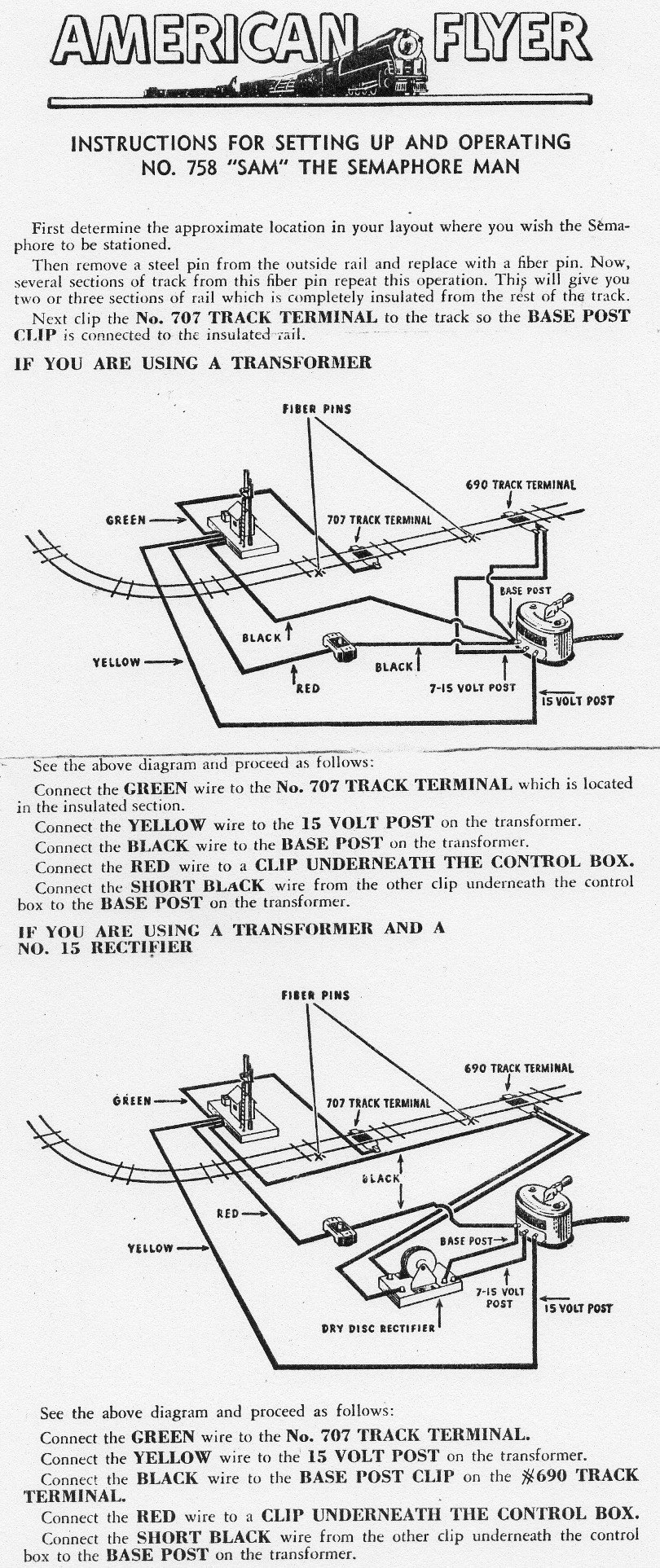 Instructions for Setting Up and Operating No. 758