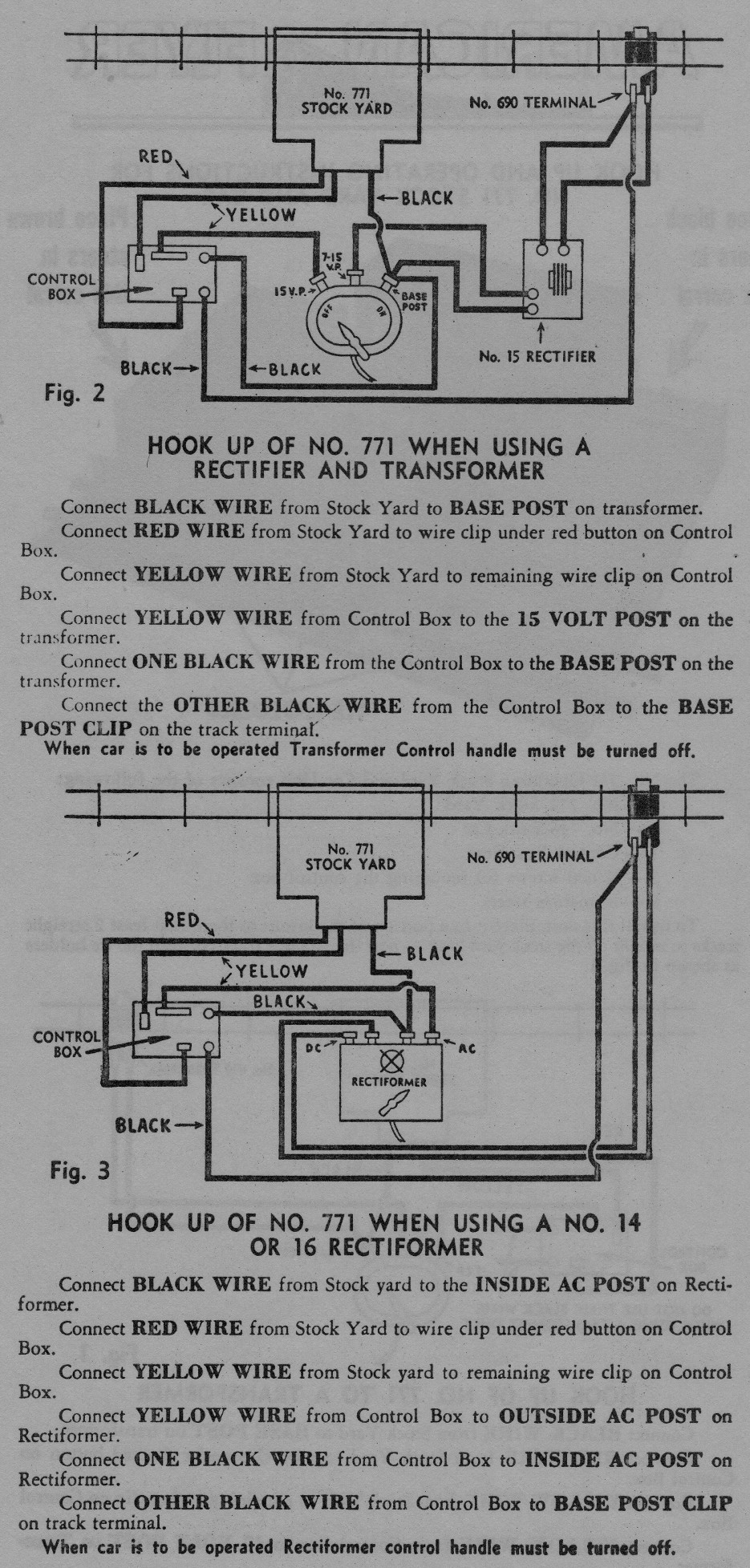 Hook Up and Operating Instructions for No. 771 Stock Yard & Car - Figure 2