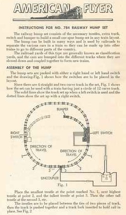 Instructions for No. 784 Railway Hump Set - Page 1