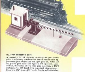 American Flyer Crossing Gate 592A Catalog Description