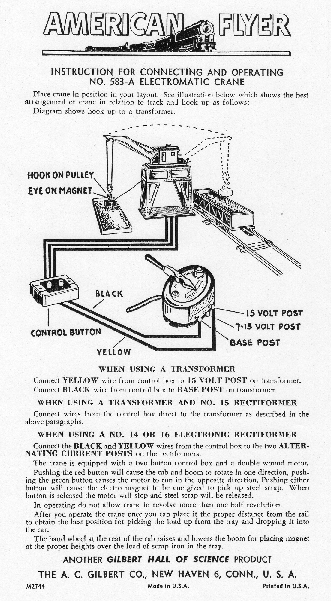 Instructions for Connecting and Operating No. 583A Electromatic Crane