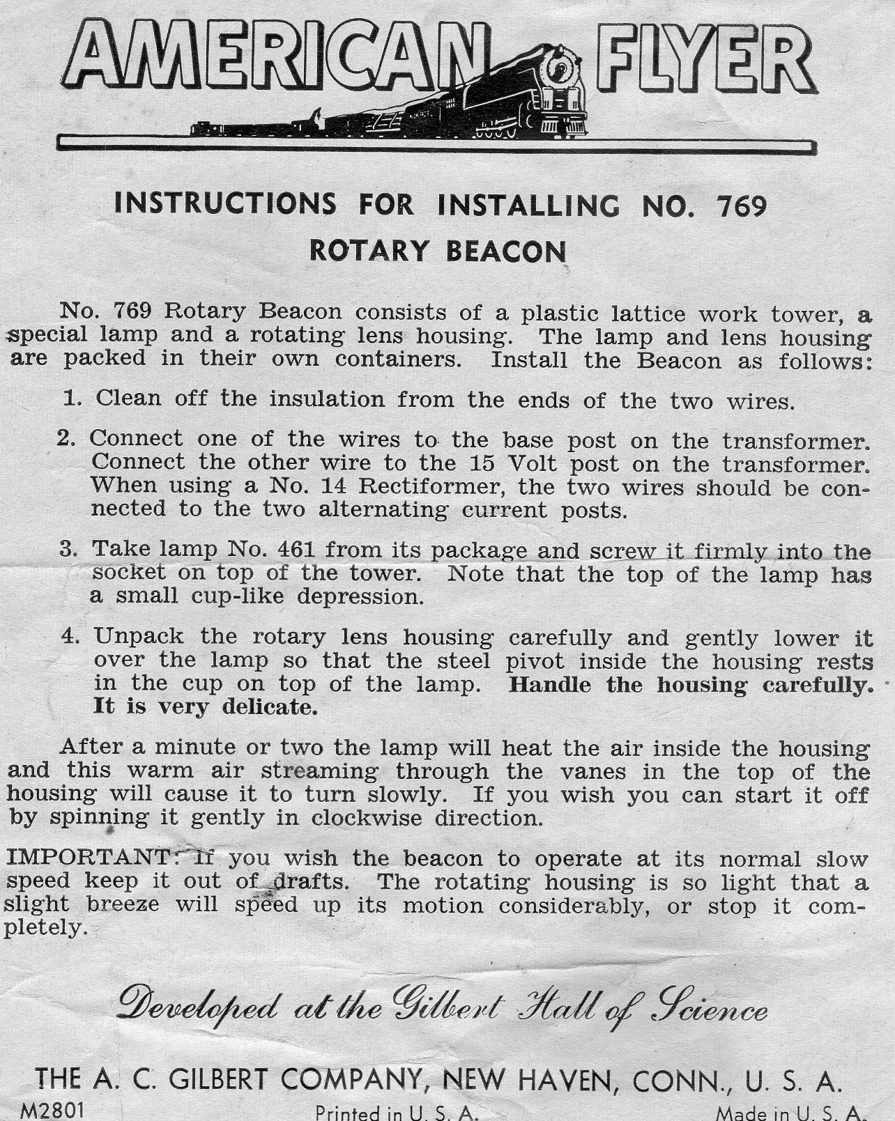 Instructions for Installing No. 769 Rotary Beacon