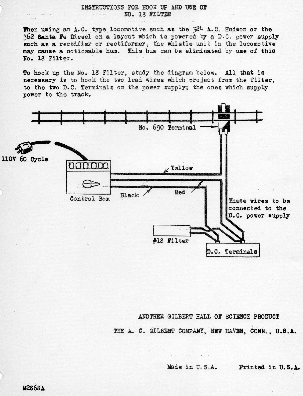 Instructions for Hook Up and Use of No. 16 Filter